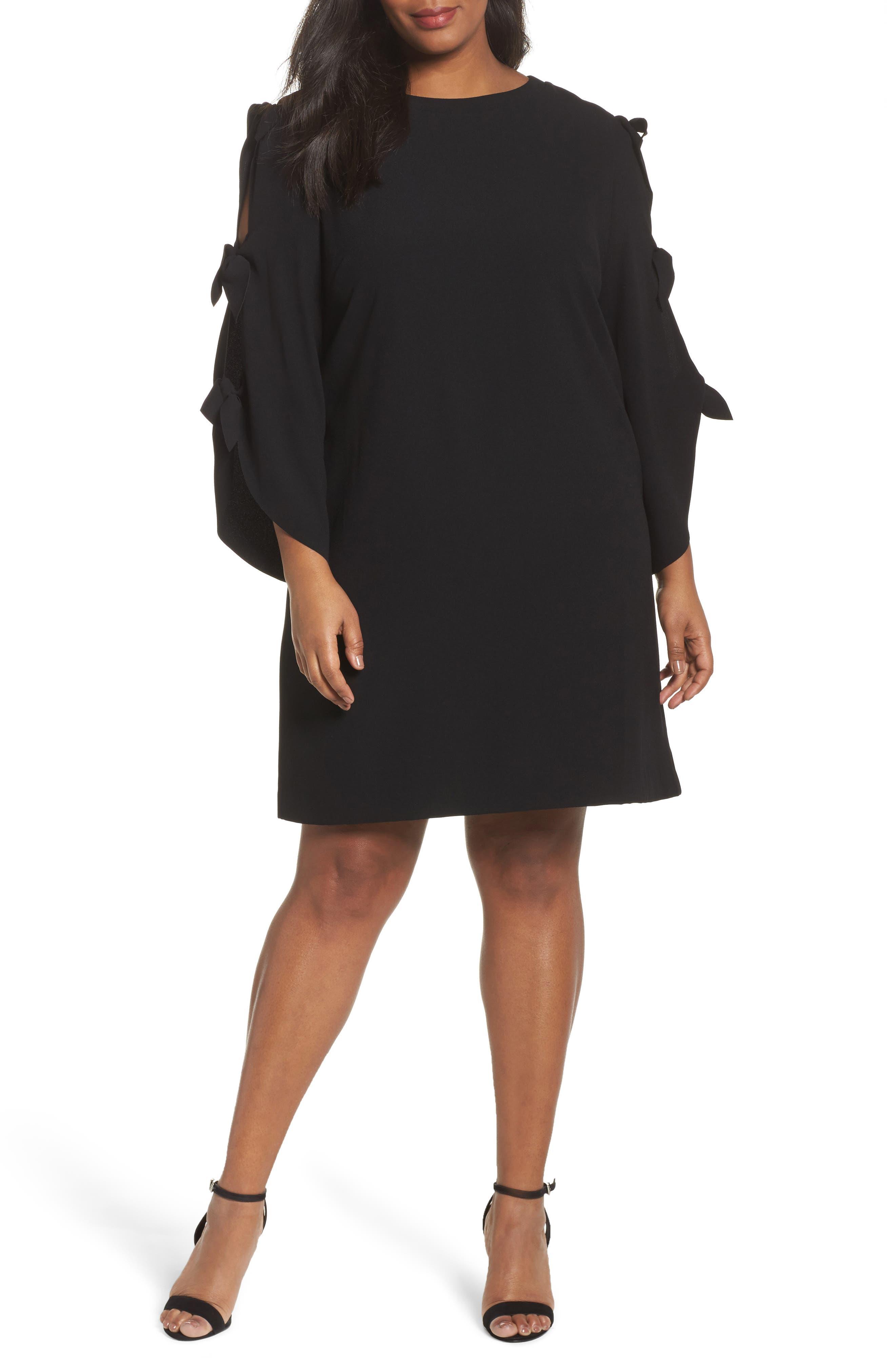 Tahari Split Tie Sleeve Shift Dress (Plus Size)
