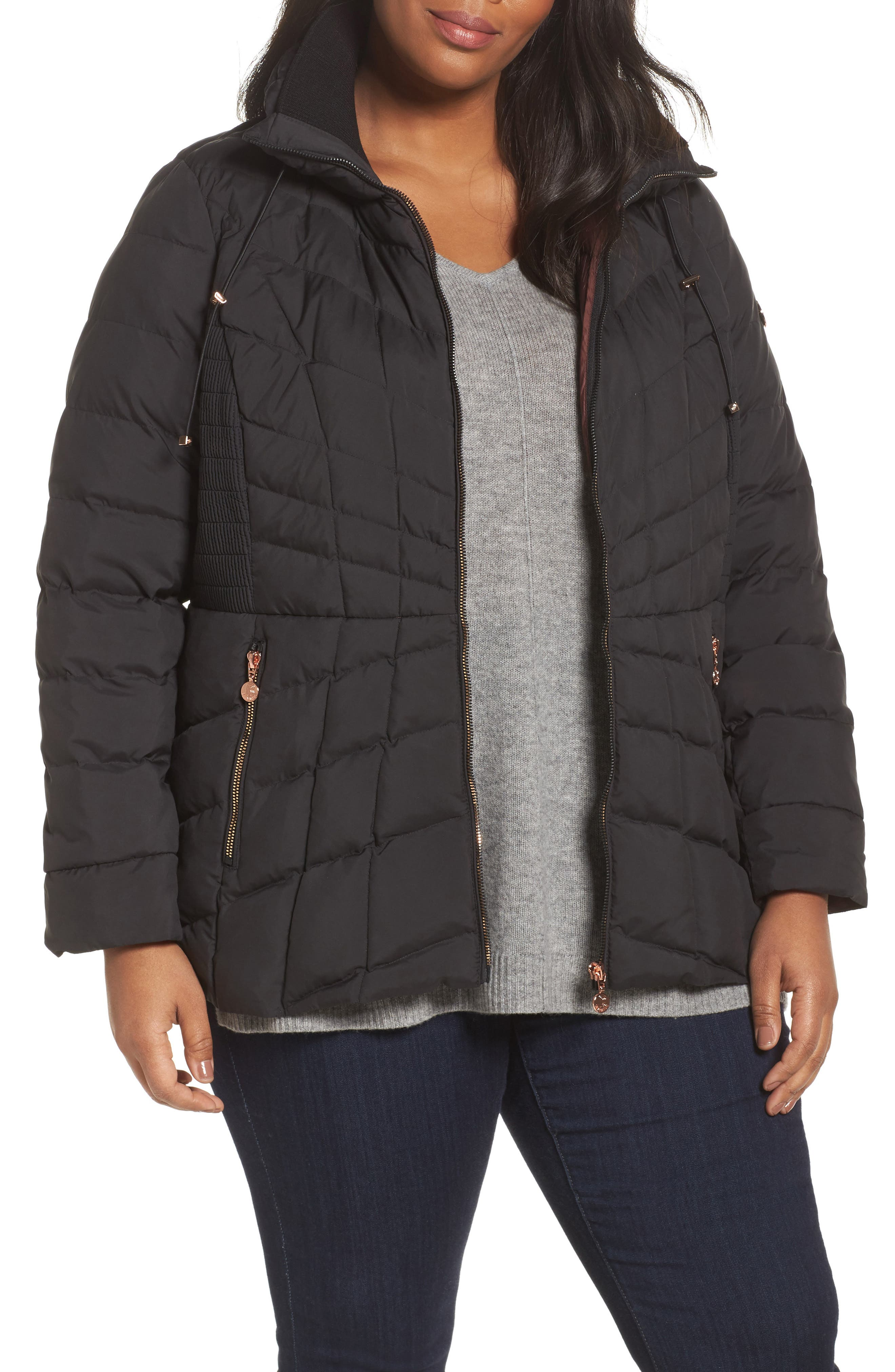 Bernardo Packable Water Resistant Down & PrimaLoft® Coat (Plus Size)