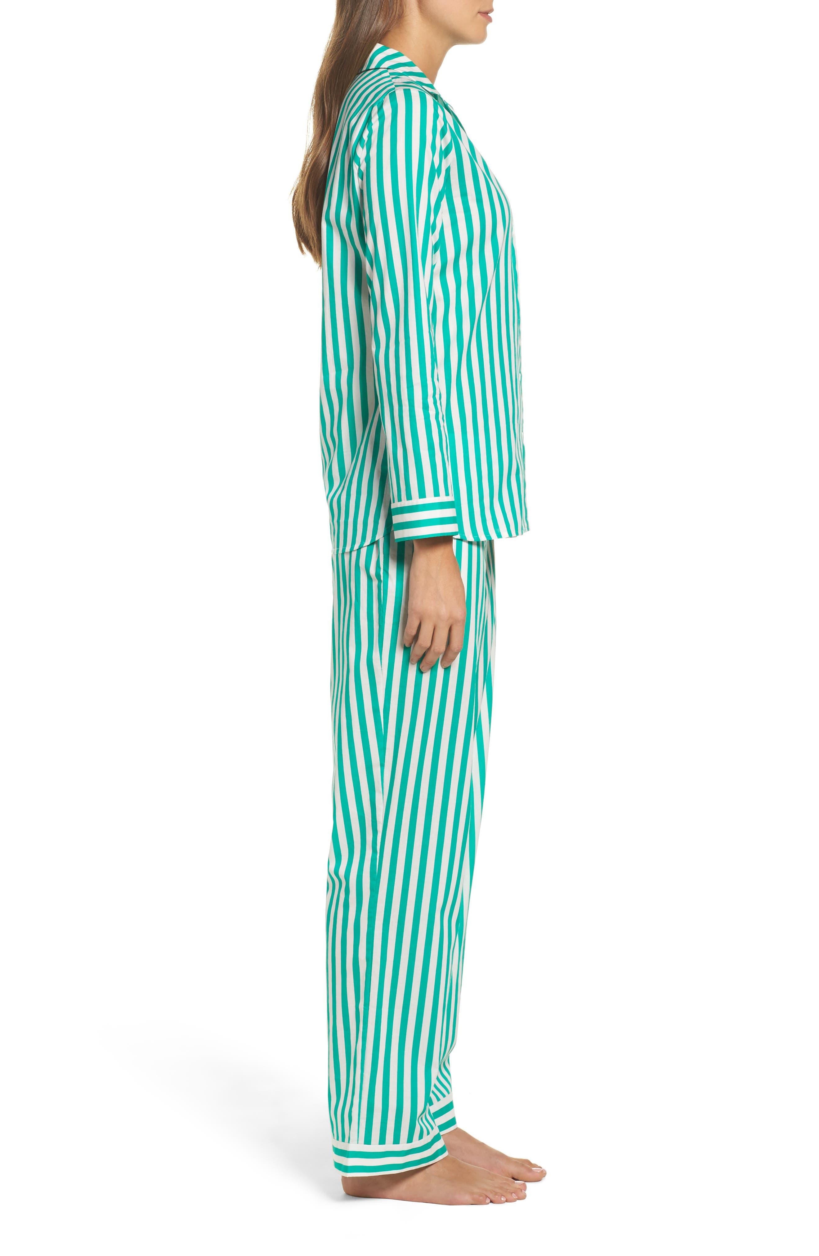 Alternate Image 3  - Yolke Classic Stripe Cotton Pajamas