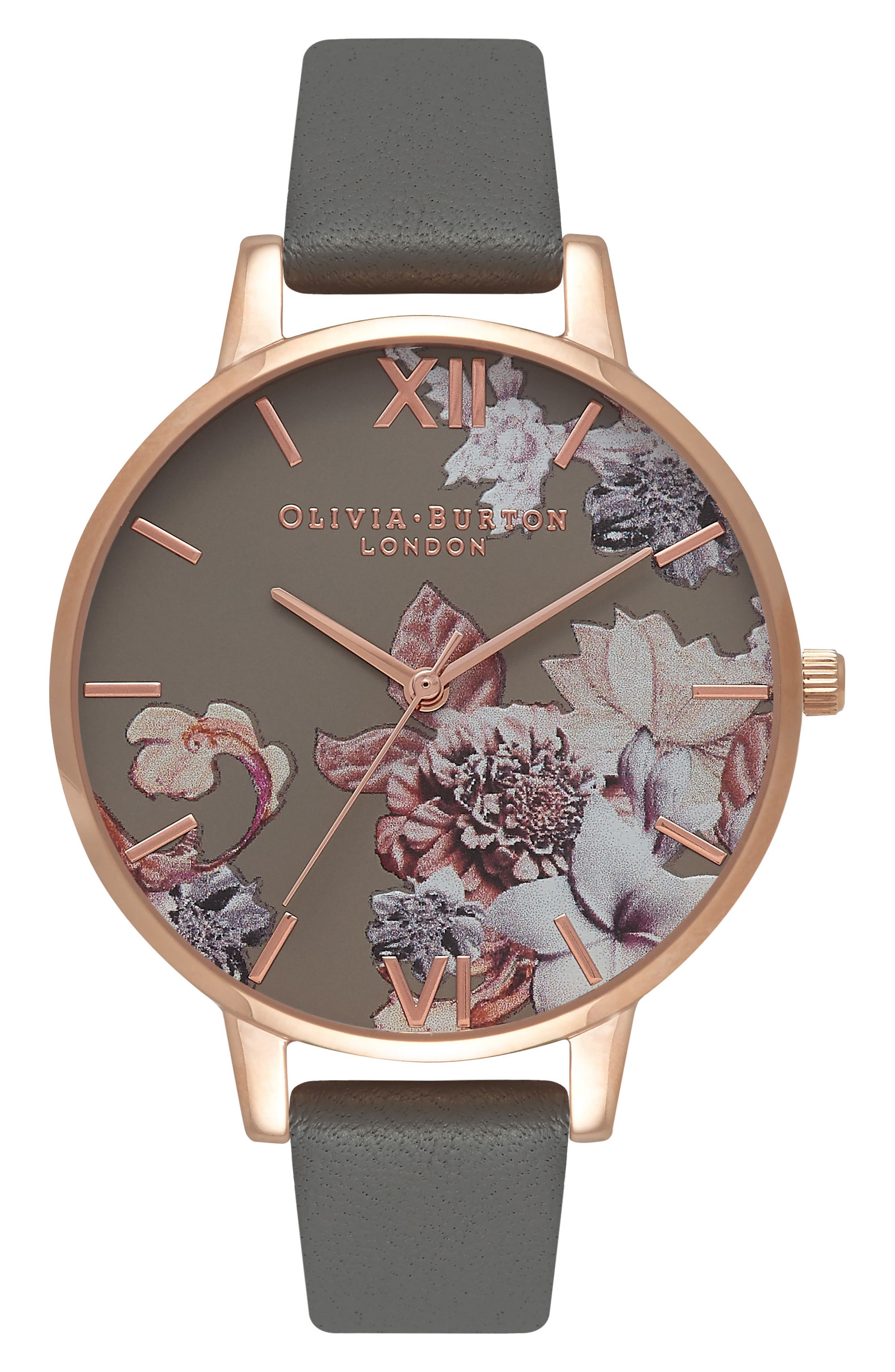 Marble Floral Leather Strap Watch, 38mm,                             Main thumbnail 1, color,                             Grey/ Floral/ Rose Gold