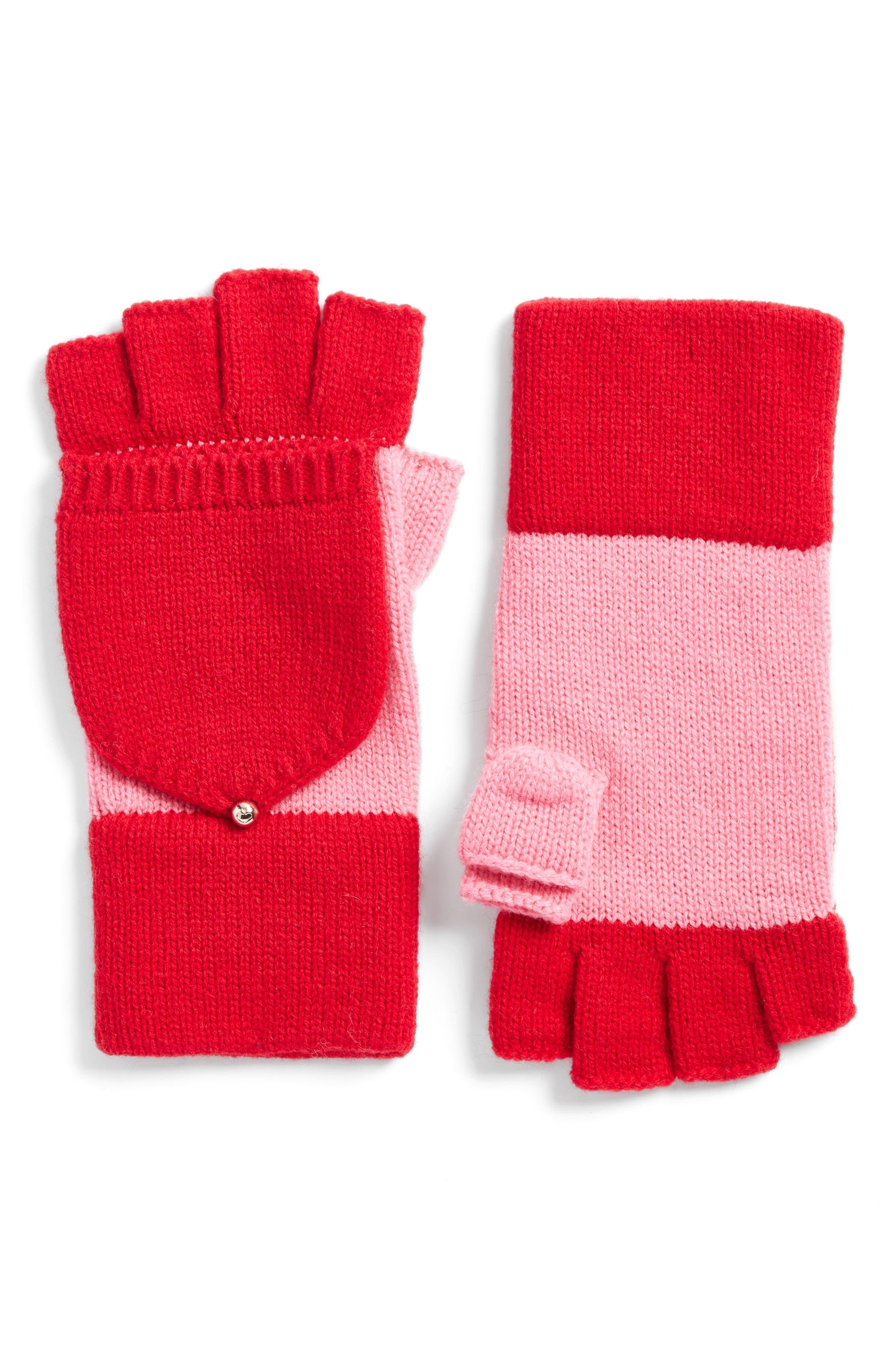 kate spade new york colorblock pop-top mittens