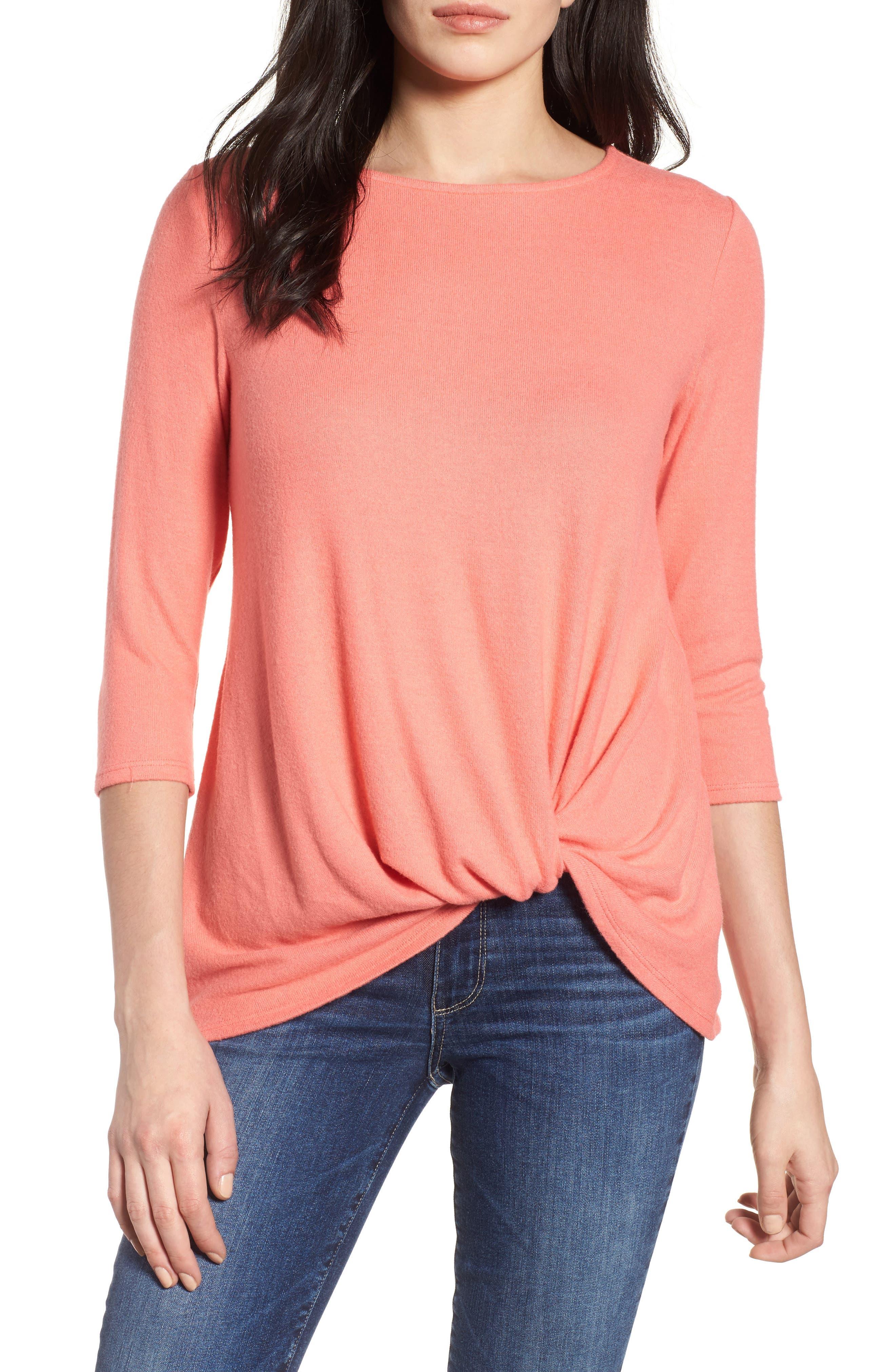 Cozy Twist Front Pullover,                         Main,                         color, Coral Sugar