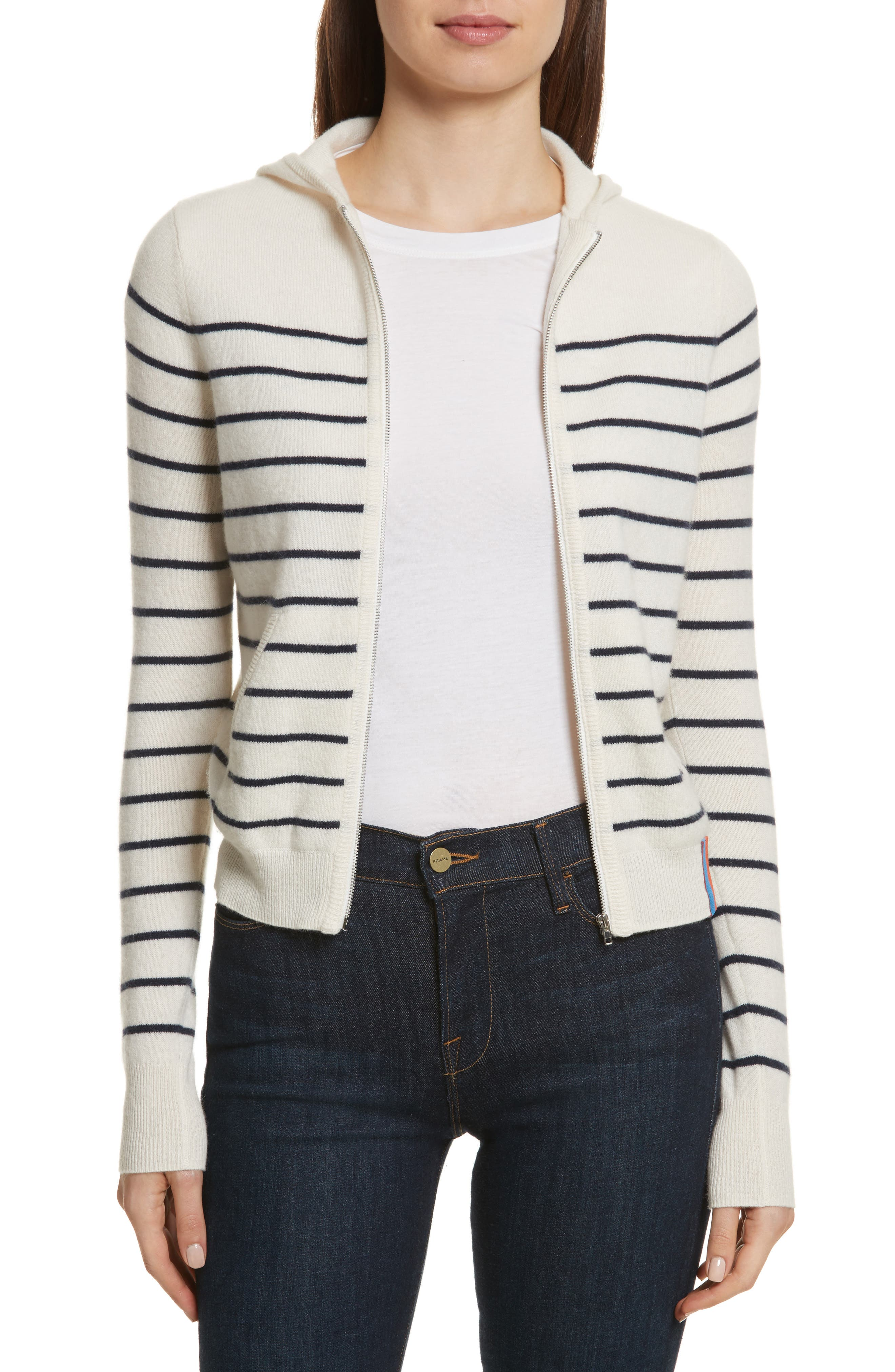 The Drake Stripe Cashmere Hoodie Sweater,                         Main,                         color, Cream/ Navy