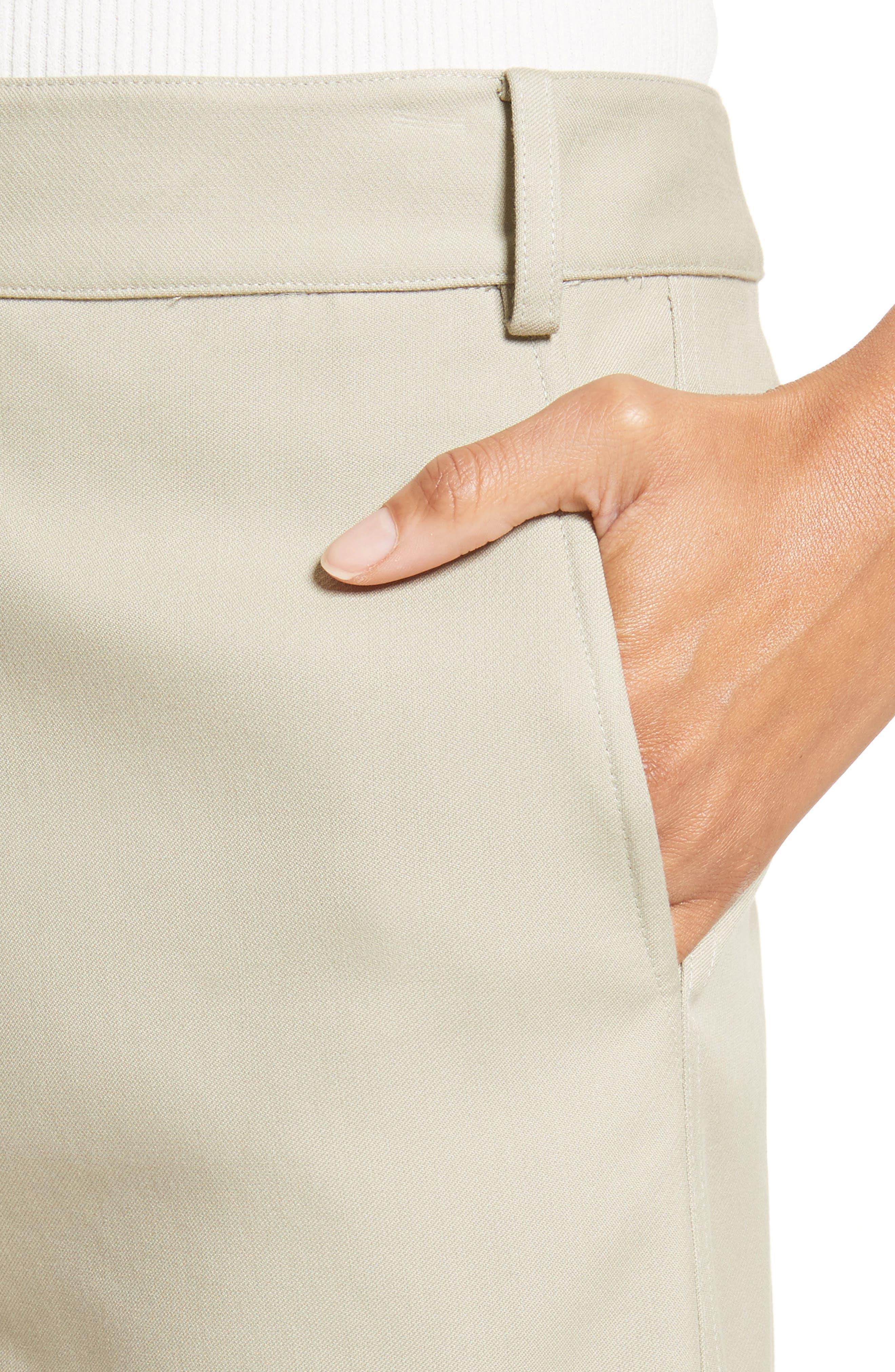 Cropped Cotton Pants,                             Alternate thumbnail 4, color,                             Moss