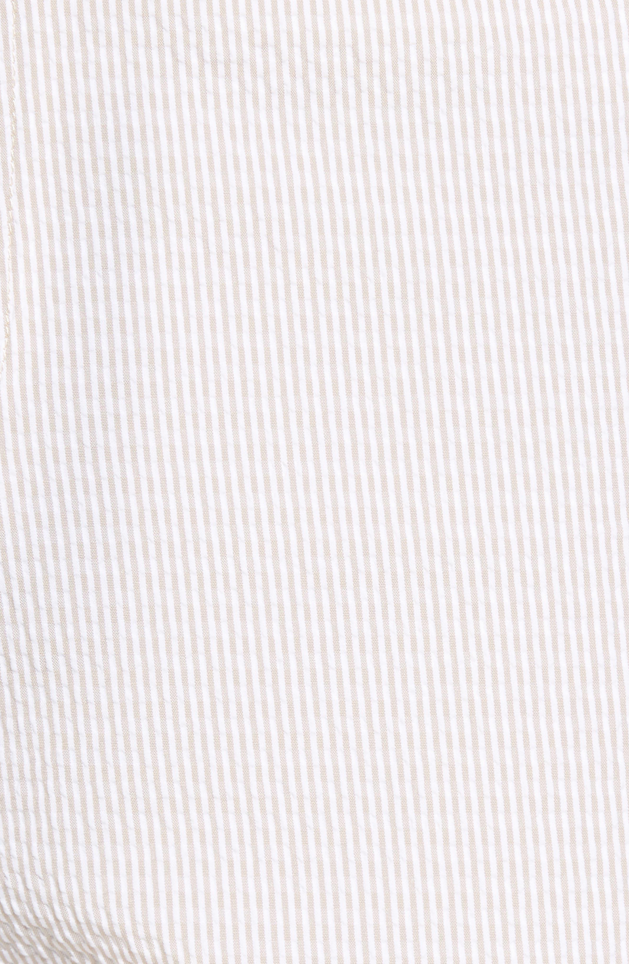Apex Pinstripe Seersucker Shorts,                             Alternate thumbnail 5, color,                             Khaki