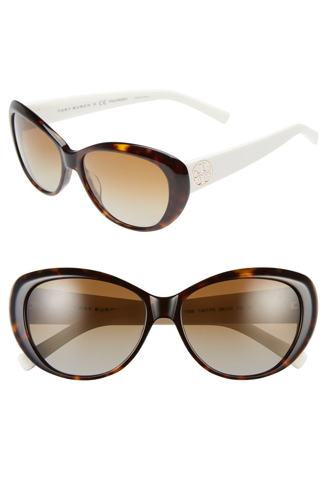 56mm Polarized Cat Eye Sunglasses,                         Main,                         color, Dark Tortoise/ Polar