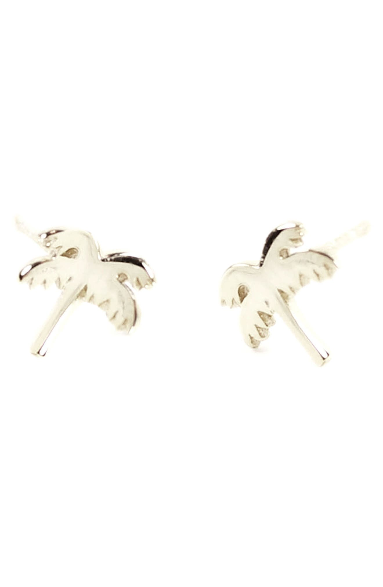Palm Tree Stud Earrings,                         Main,                         color, Silver