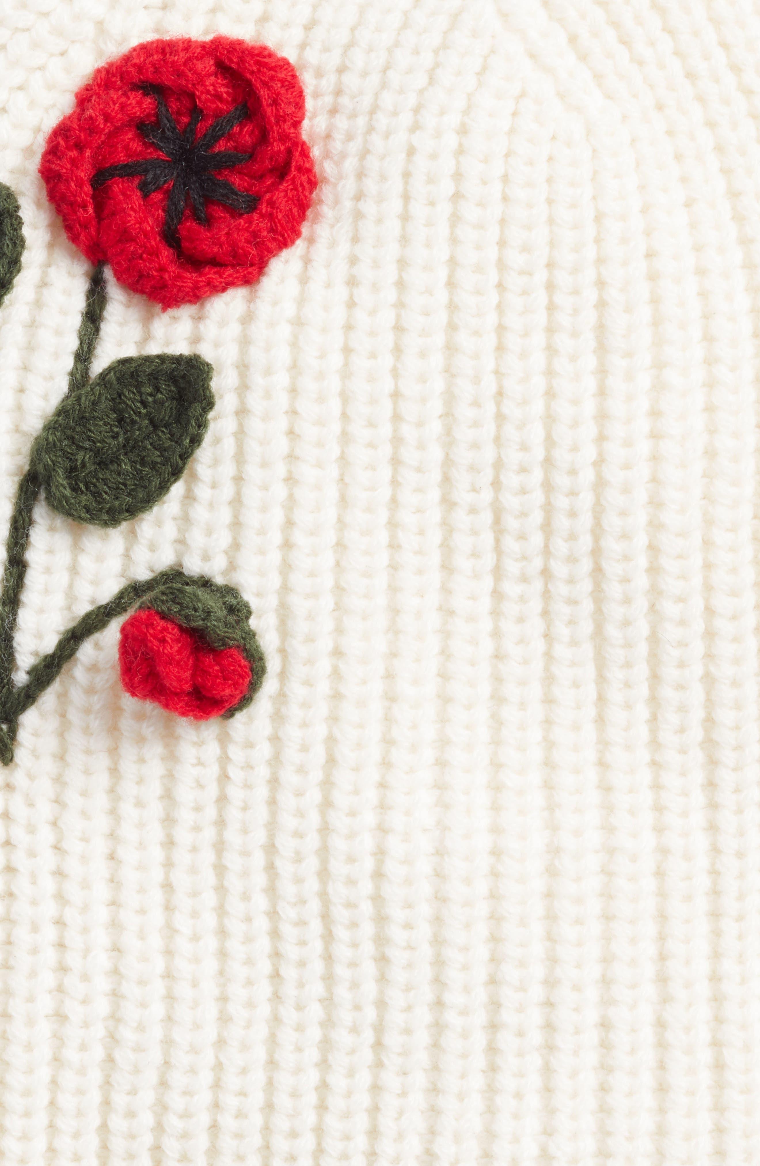 crochet poppy beanie,                             Alternate thumbnail 2, color,                             Cream