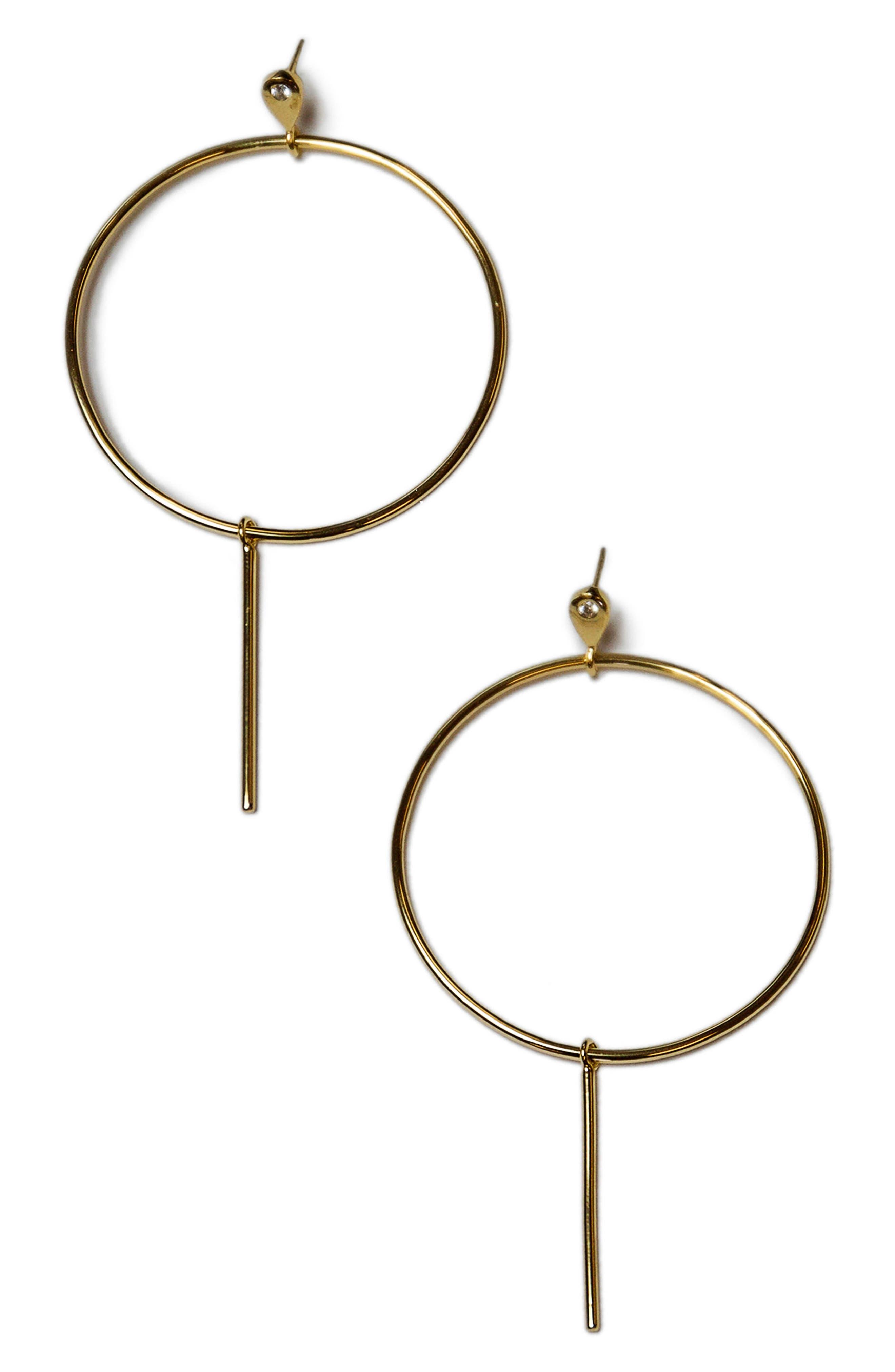Teardrop Hoop Earrings,                         Main,                         color, Gold