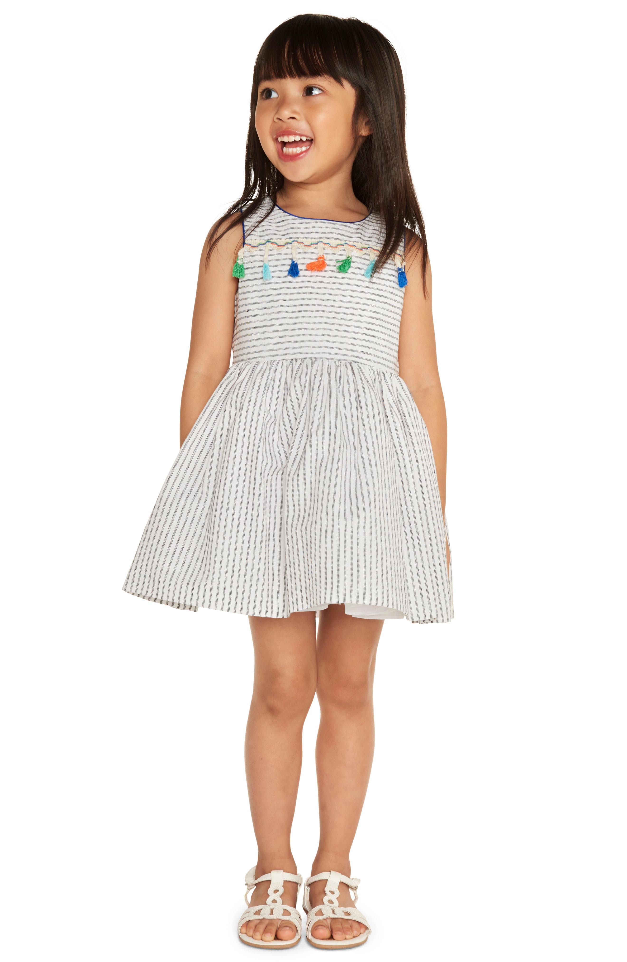 Alternate Image 2  - Pippa & Julie Stripe Tassel Dress (Baby Girls)