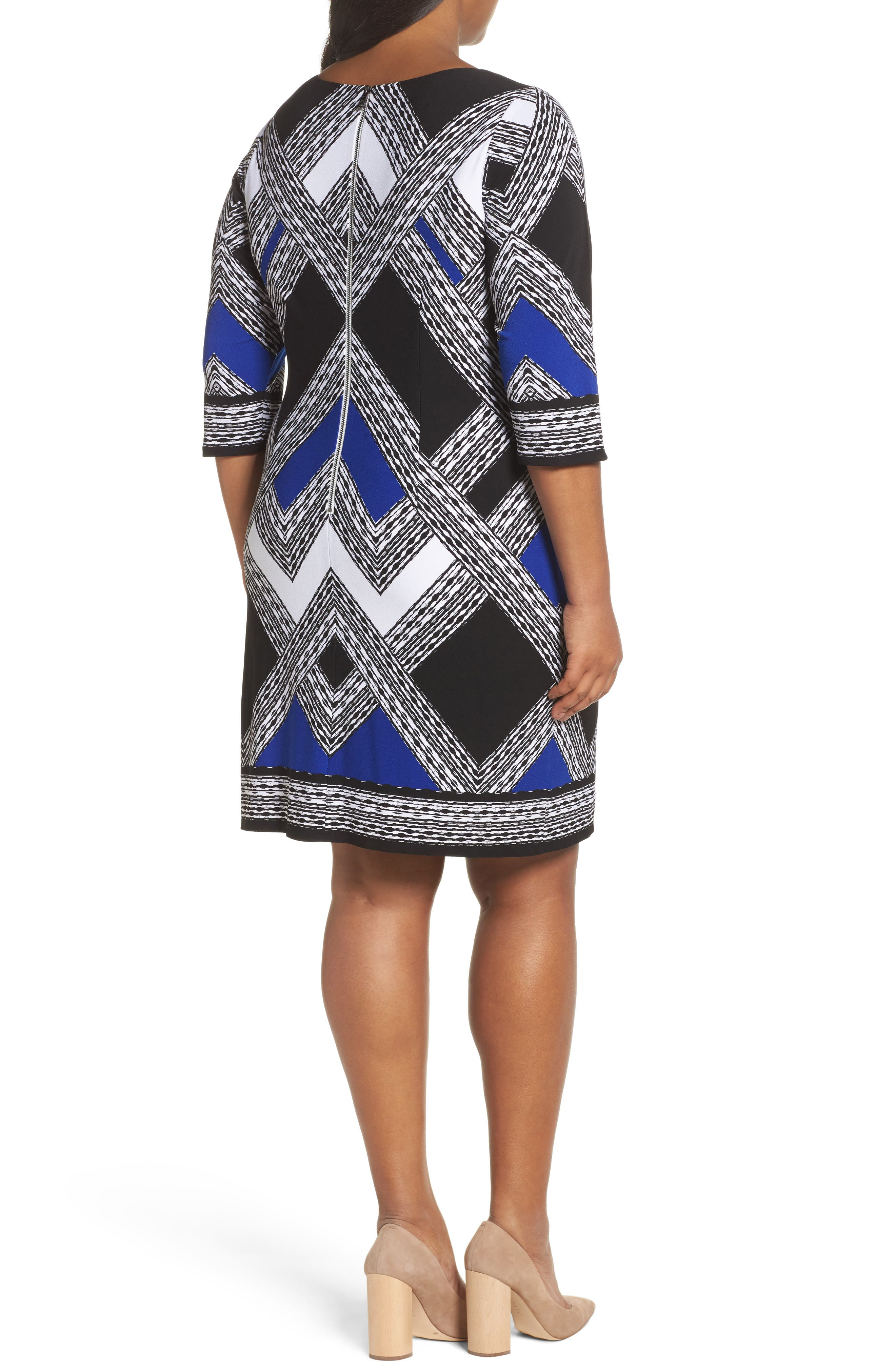 Alternate Image 2  - Vince Camuto Geo Print Shift Dress (Plus Size)