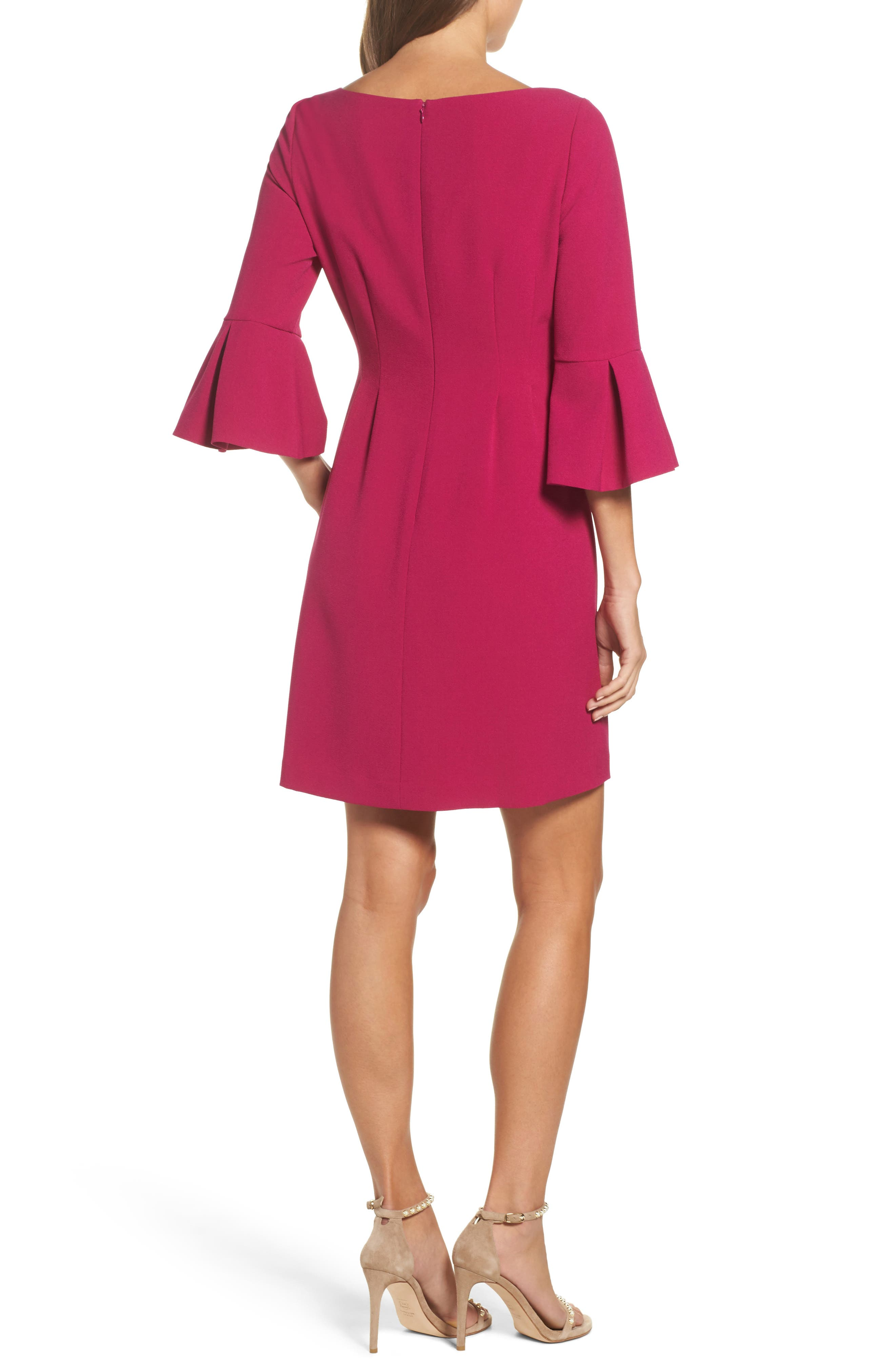 Bell Sleeve Fit & Flare Dress,                             Alternate thumbnail 2, color,                             Magenta