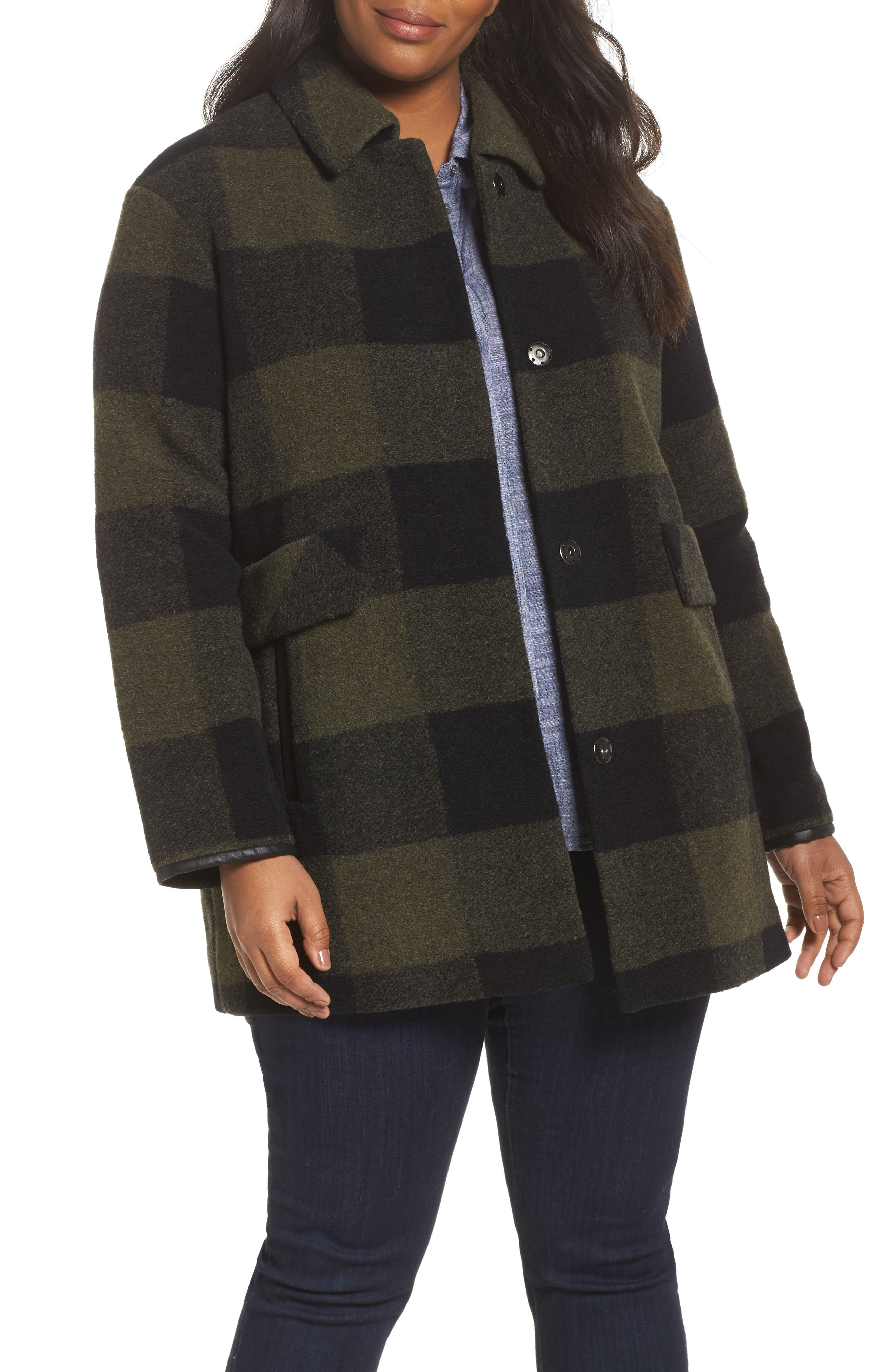 Paul Bunyan Plaid Wool Blend Barn Coat,                         Main,                         color, Olive/ Buff