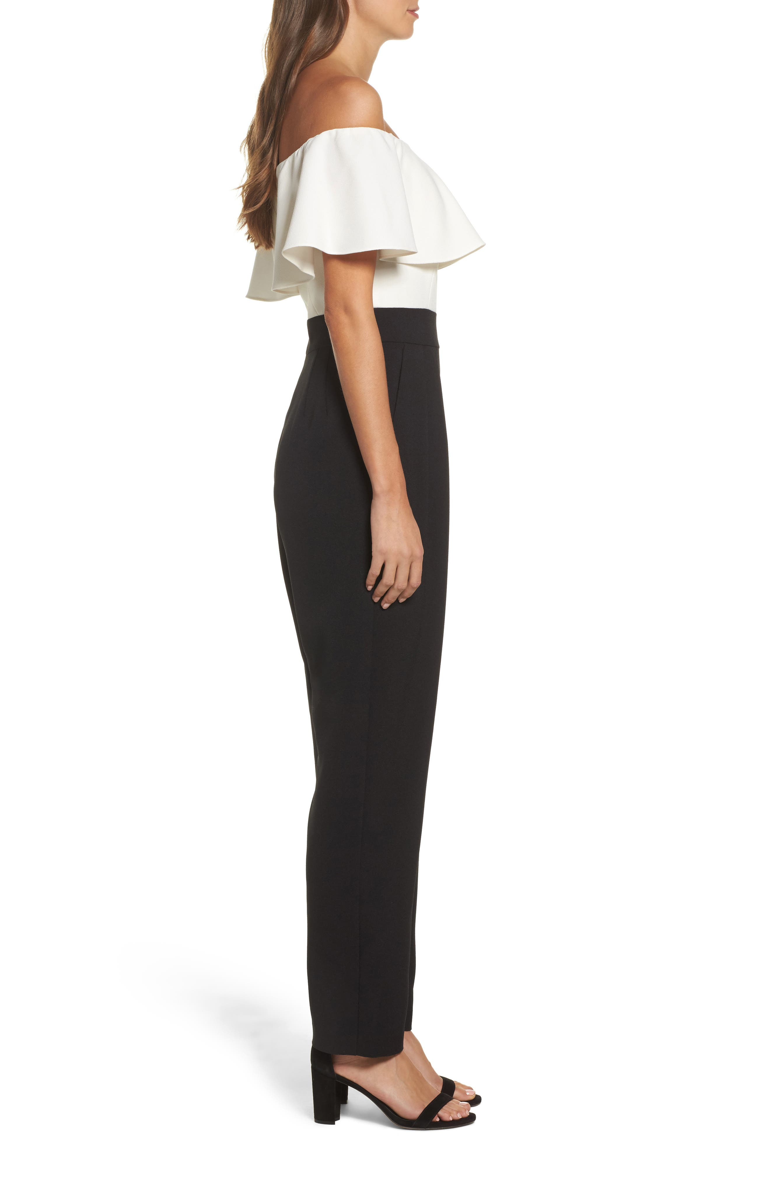 Off the Shoulder Jumpsuit,                             Alternate thumbnail 3, color,                             Ivory/ Black