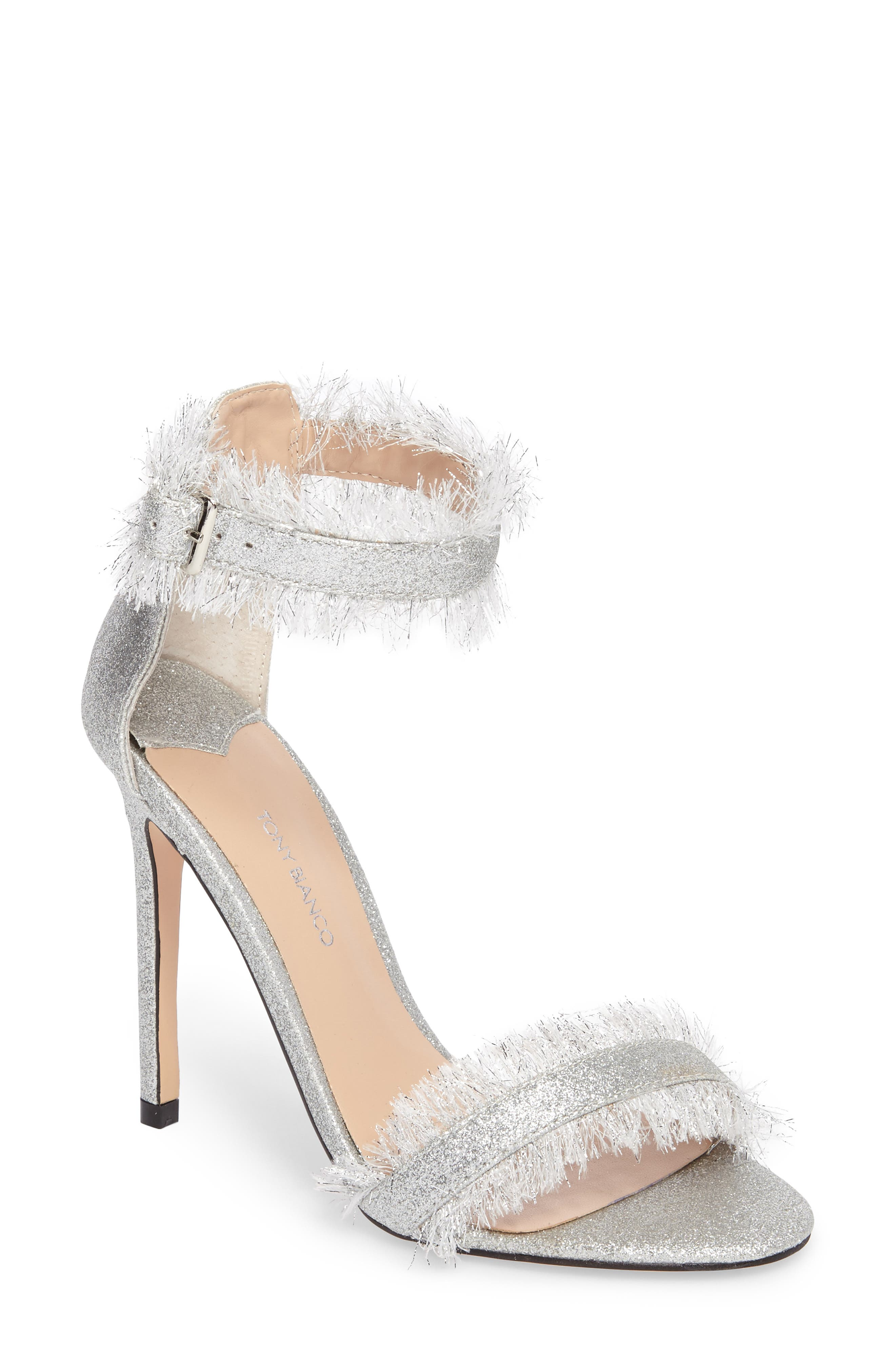 Kimi Fringed Strappy Sandal,                             Main thumbnail 1, color,                             Silver Glitter