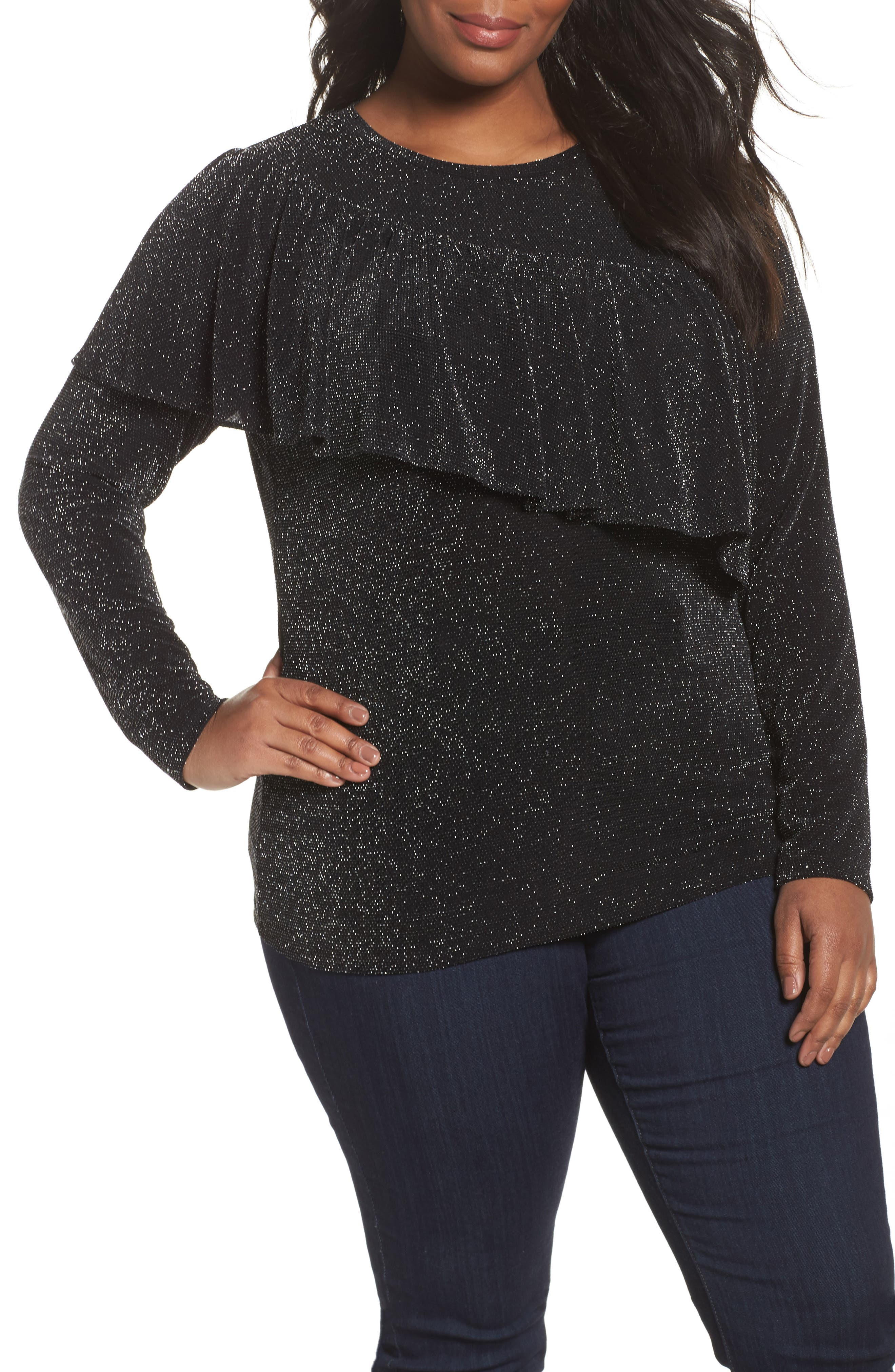 Ruffled Metallic Top,                             Main thumbnail 1, color,                             Black
