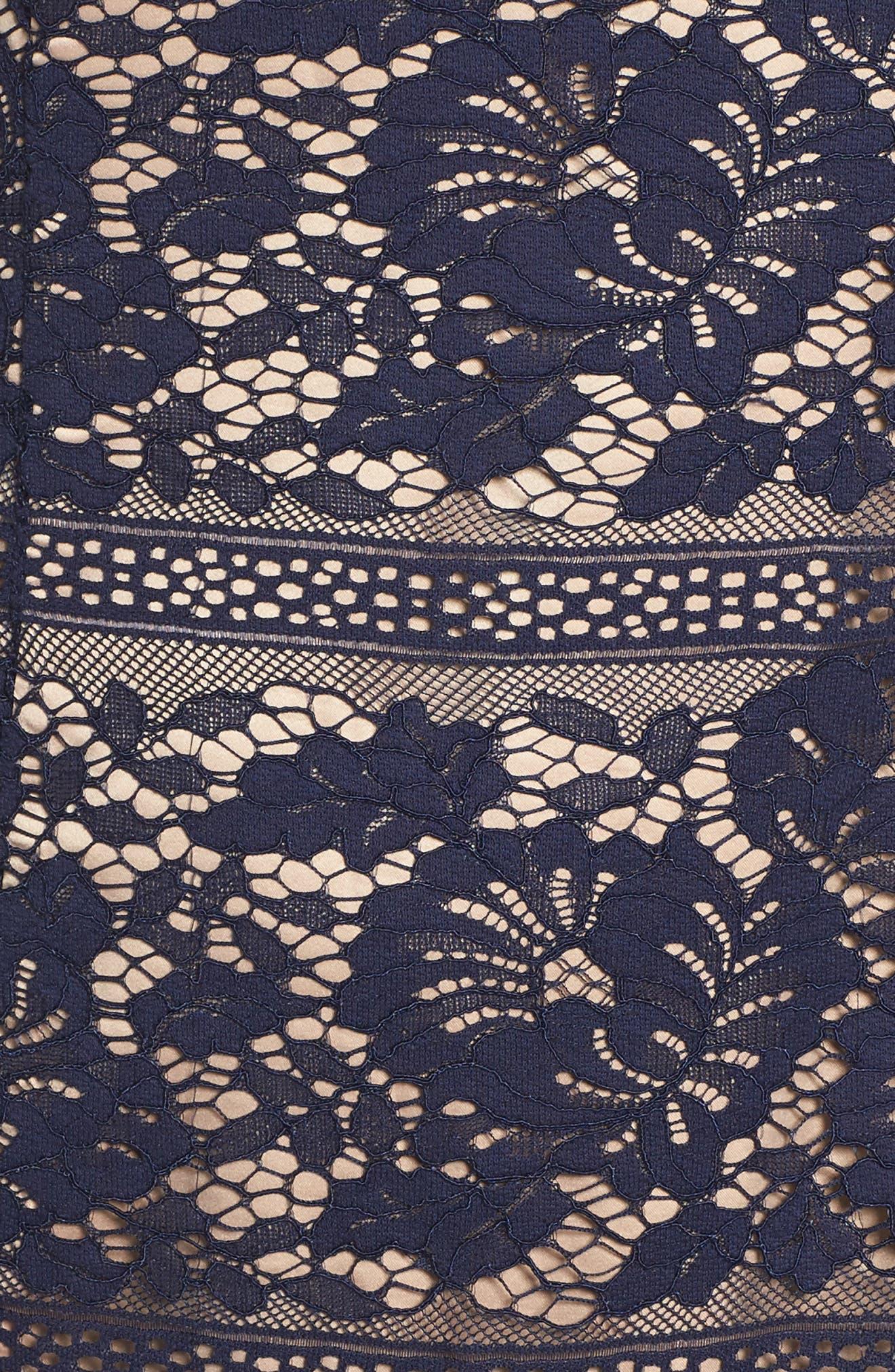 Lace Ruffle Hem Sheath Dress,                             Alternate thumbnail 5, color,                             Navy