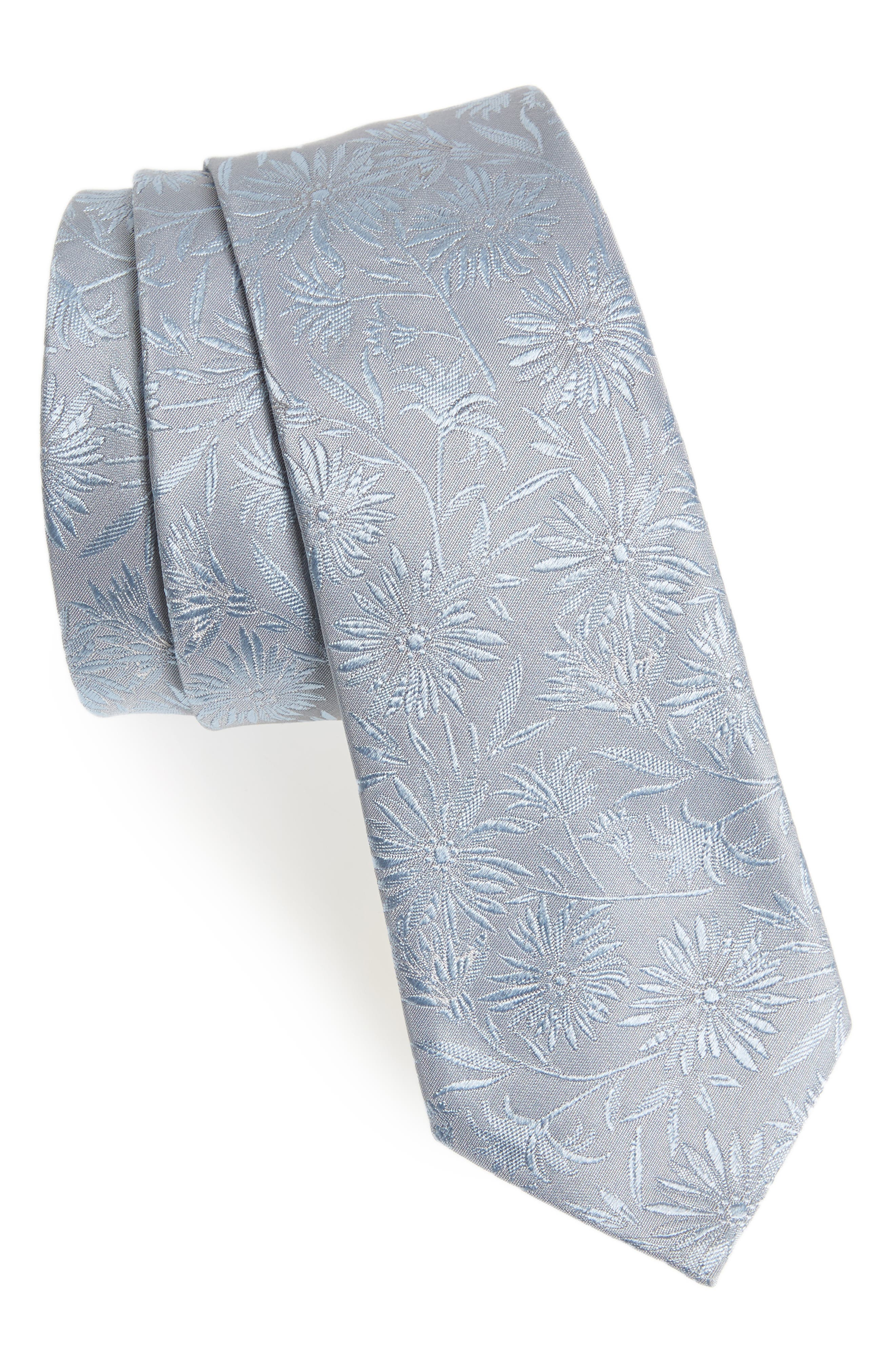 Tonal Floral Skinny Tie,                         Main,                         color, Light Blue