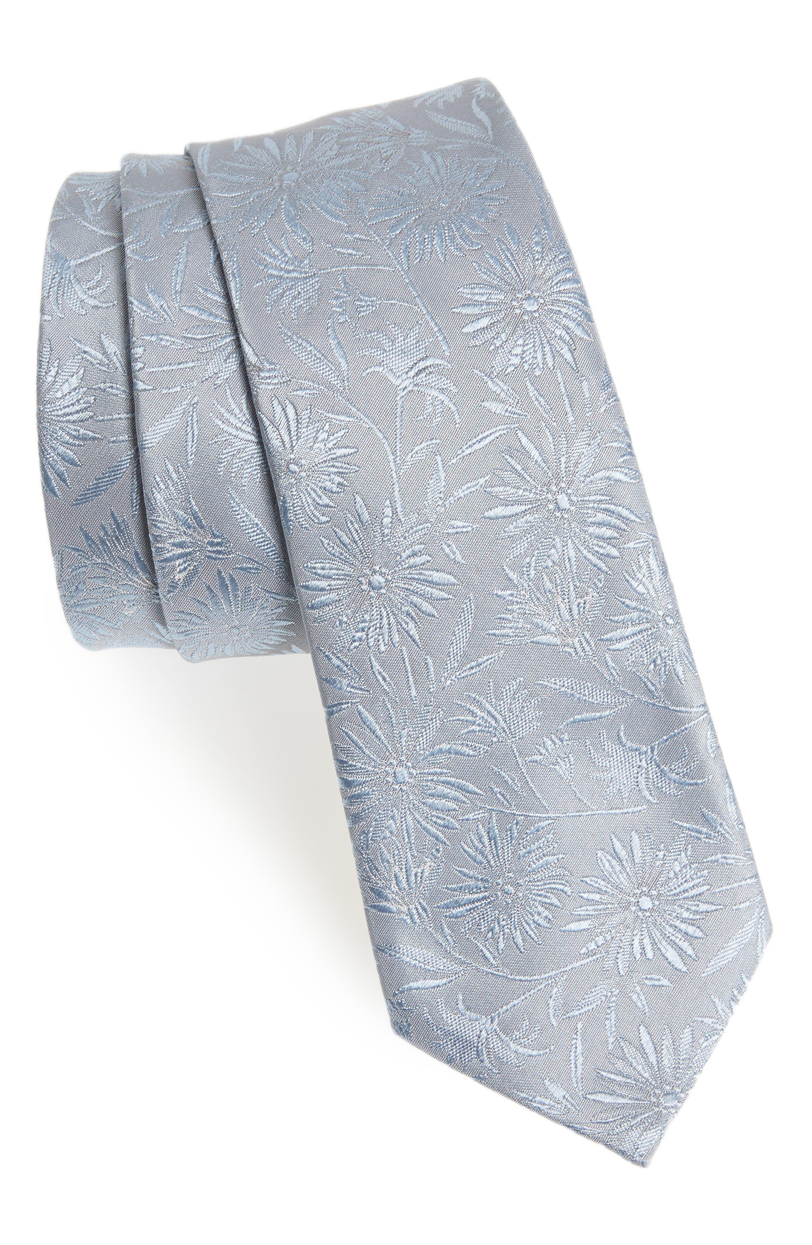 Tonal Floral Skinny Tie,                         Main,                         color, Light Blue