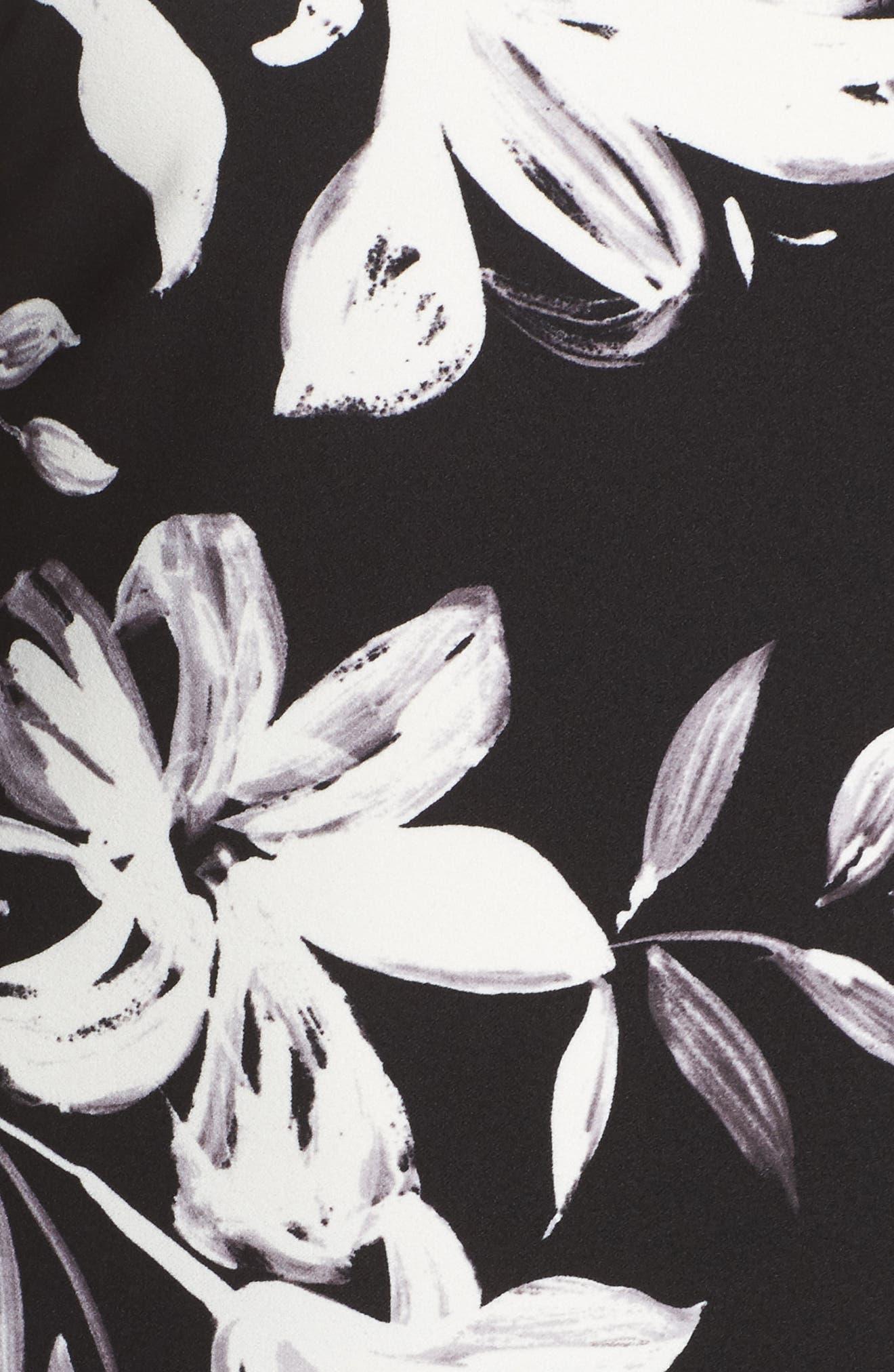 Flare Sleeve Shift Dress,                             Alternate thumbnail 5, color,                             Black/ Ivory