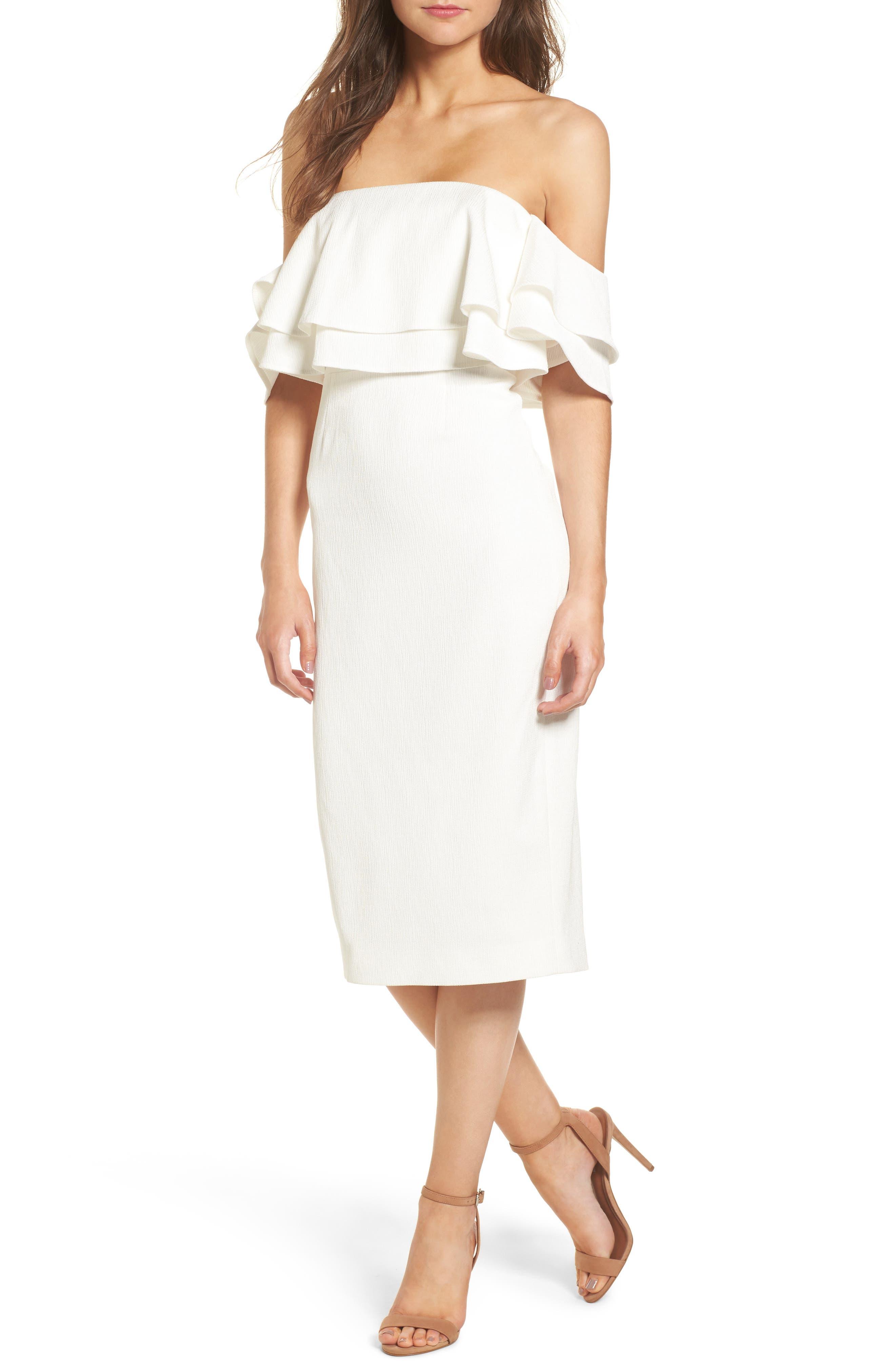 No Reason Off the Shoulder Sheath Dress,                             Main thumbnail 1, color,                             Ivory
