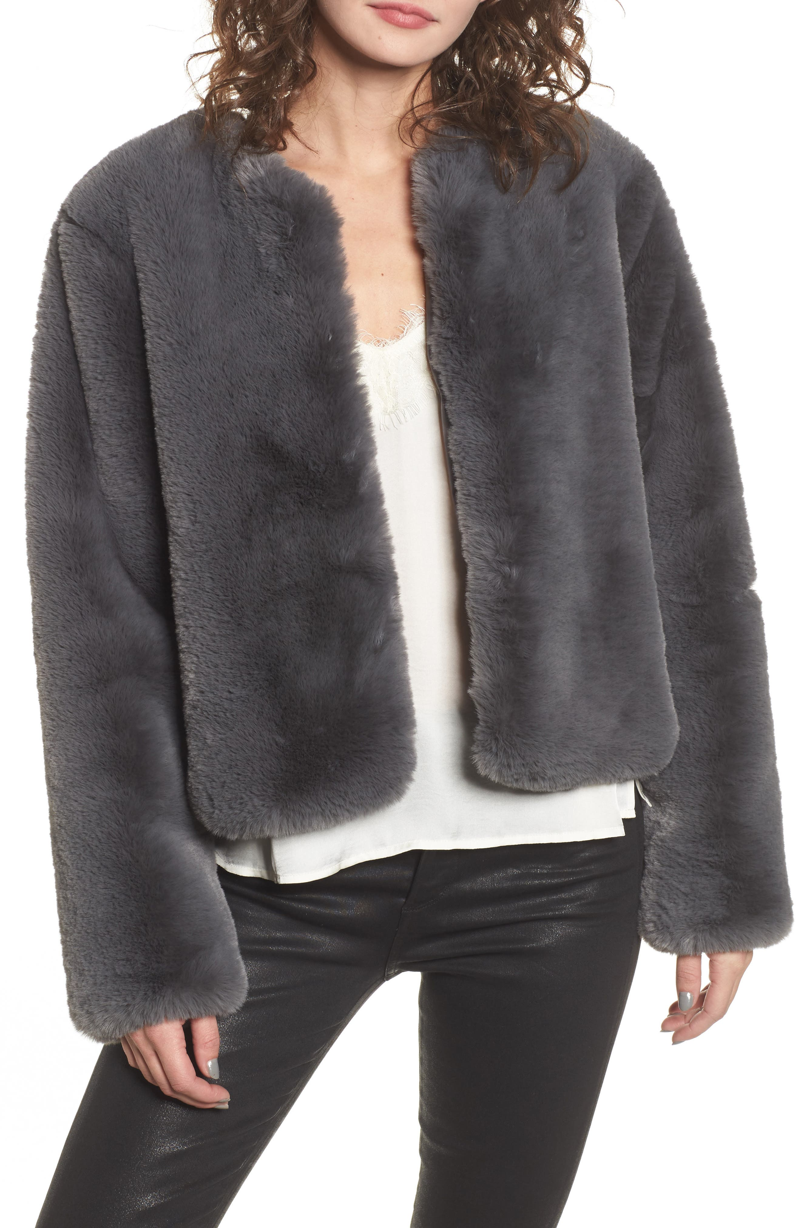 Faux Fur Jacket,                         Main,                         color, Smoke
