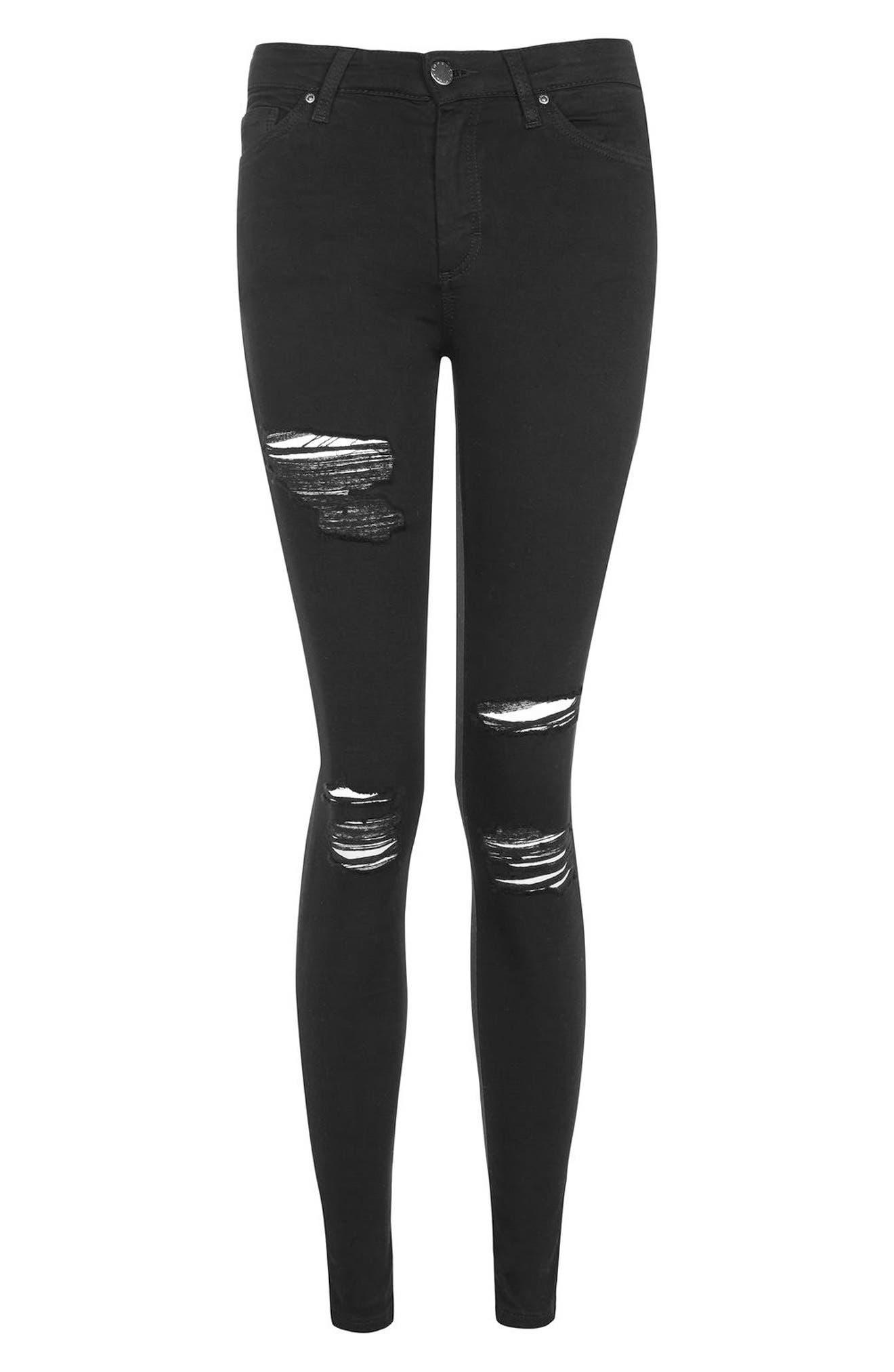 Leigh Super Rip Skinny Jeans,                             Alternate thumbnail 4, color,                             Black