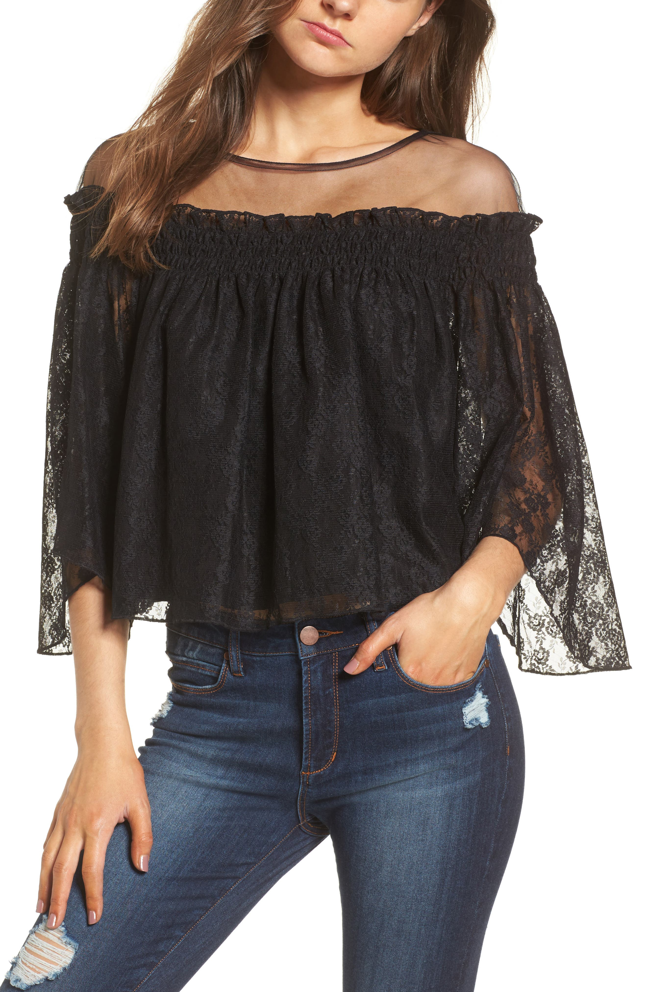 Leith Lace & Mesh Off the Shoulder Top