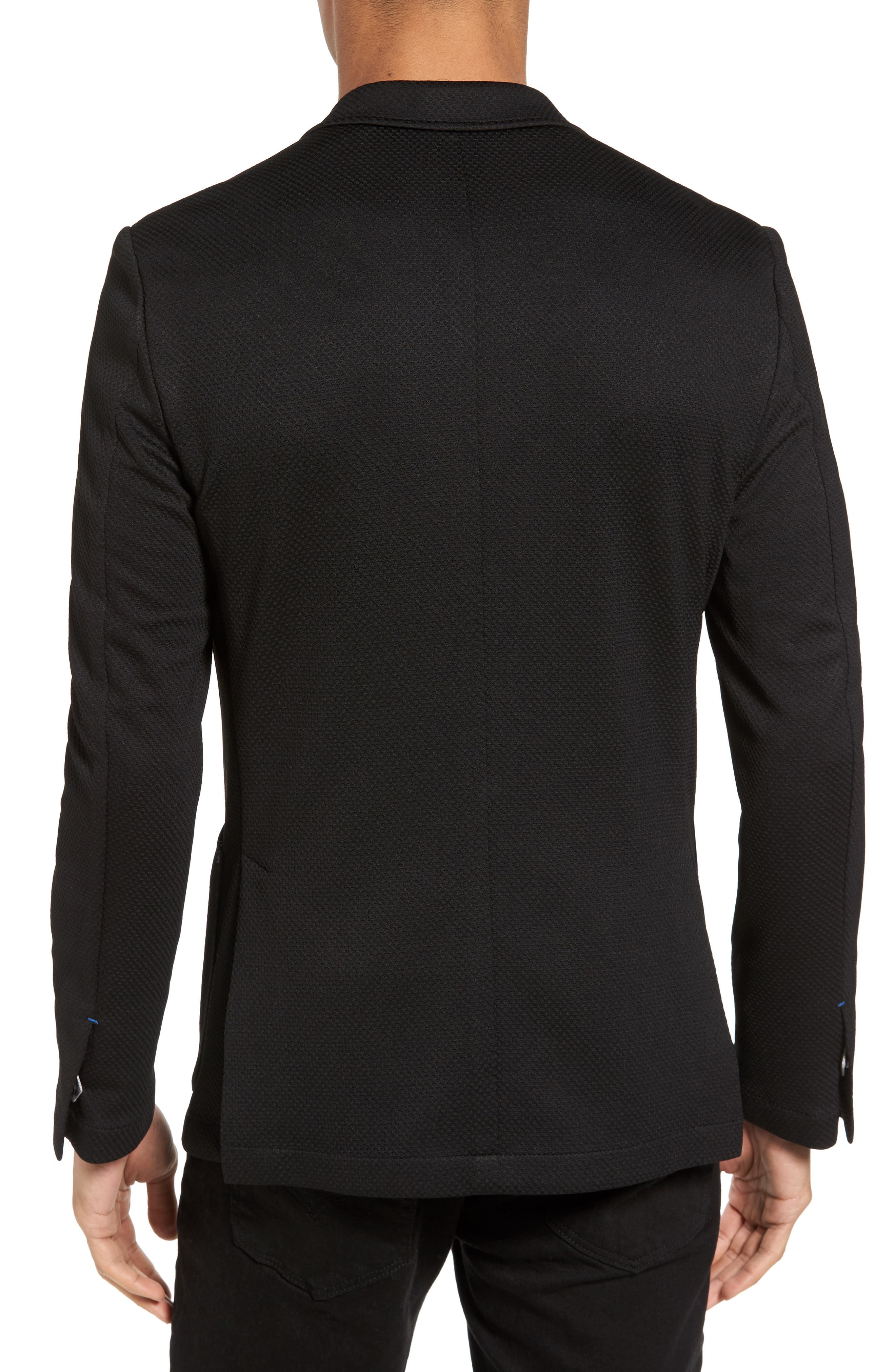 Slim Fit Stretch Knit Blazer,                             Alternate thumbnail 2, color,                             Black