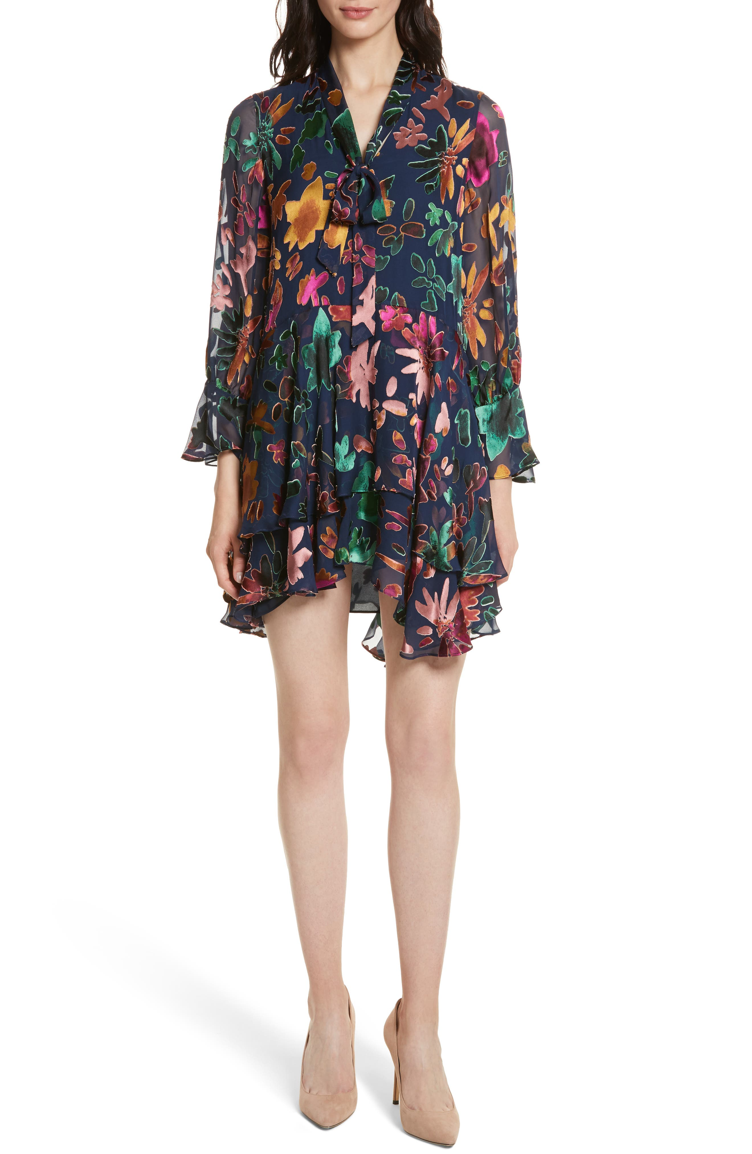 Moore Layered Skirt Tunic Dress,                             Main thumbnail 1, color,                             Prisma Floral Sapphire