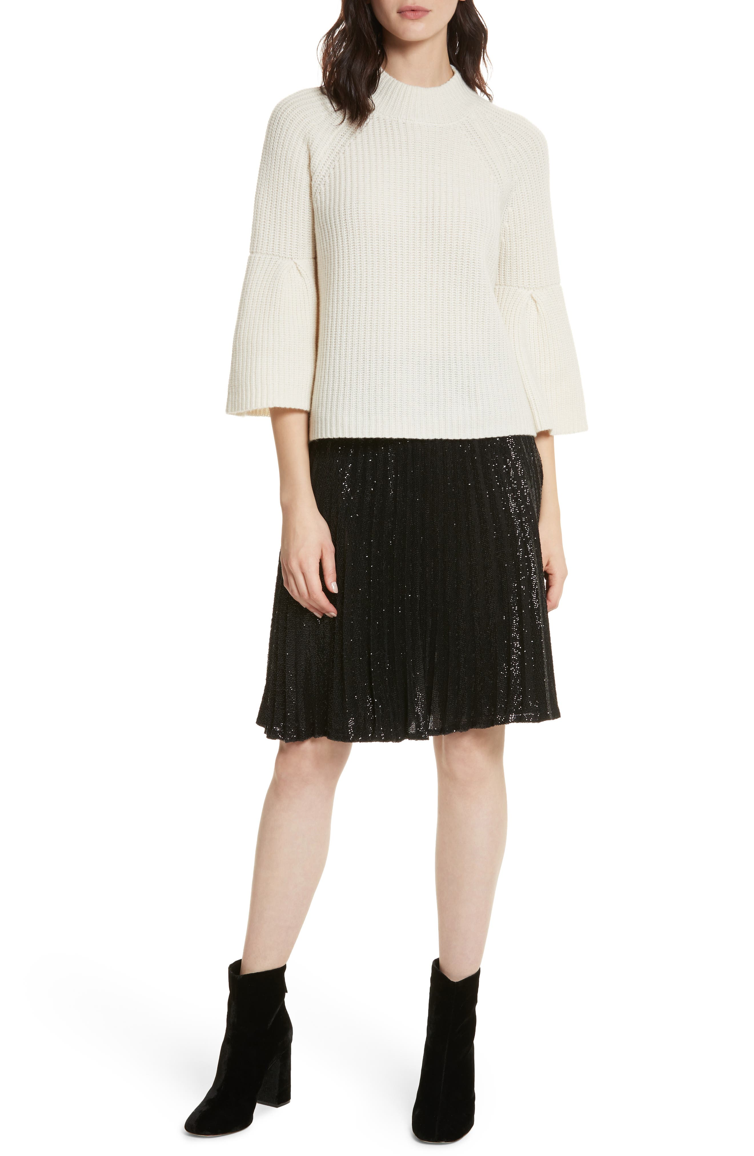 Jadian Metallic Pleat Skirt,                             Alternate thumbnail 7, color,                             Caviar