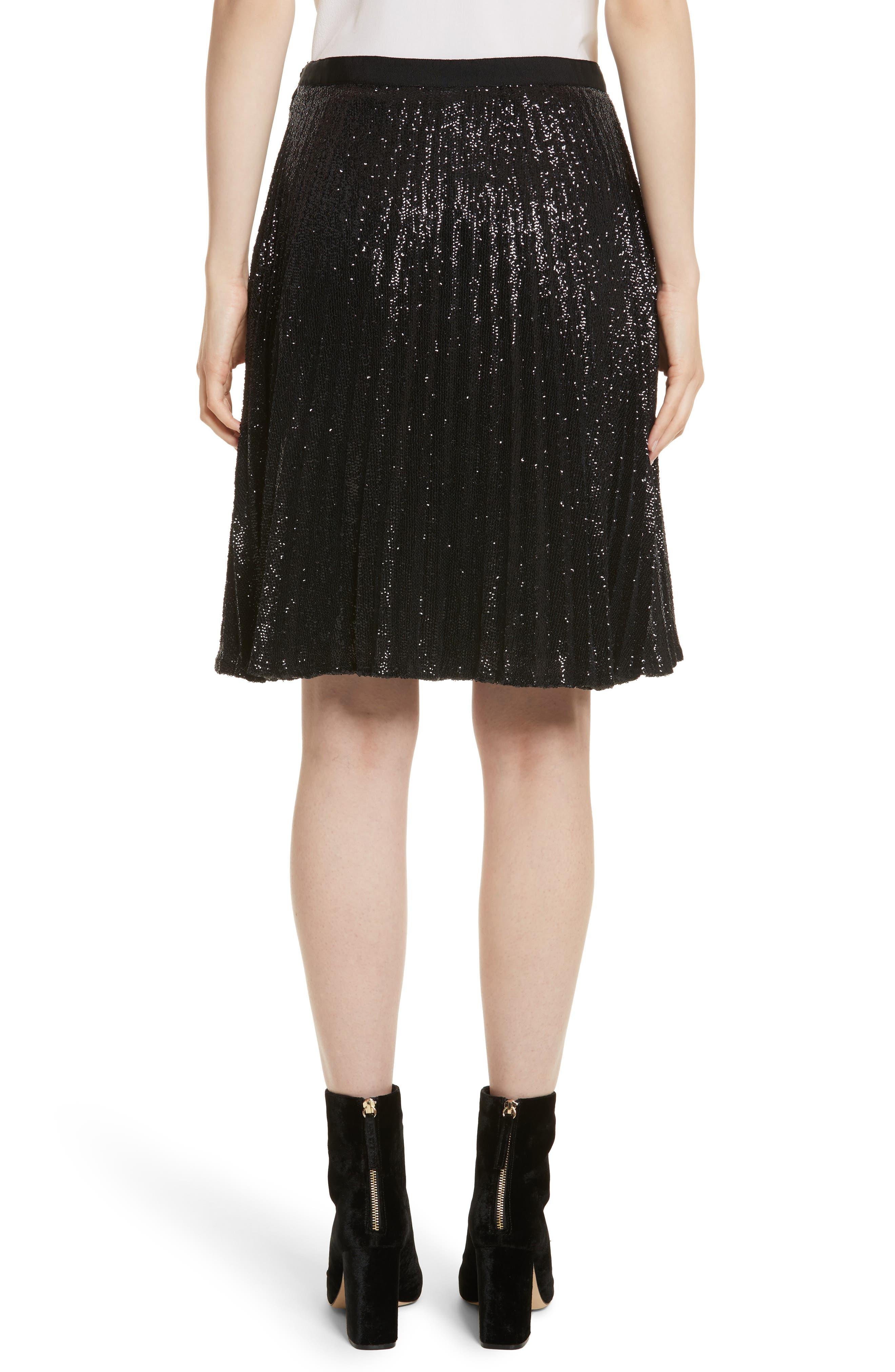 Jadian Metallic Pleat Skirt,                             Alternate thumbnail 2, color,                             Caviar