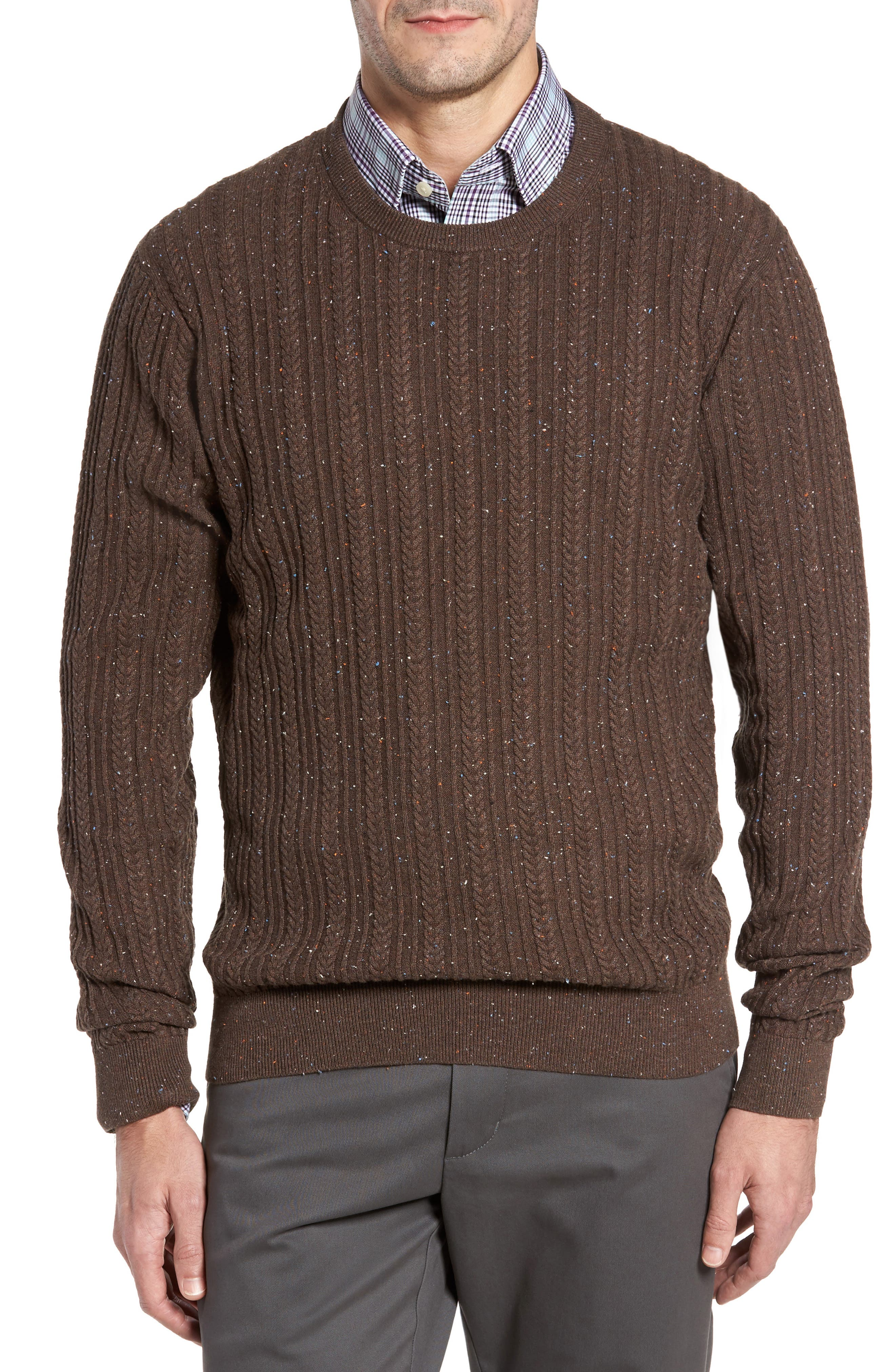 Carlton Crewneck Sweater,                             Main thumbnail 1, color,                             Twig