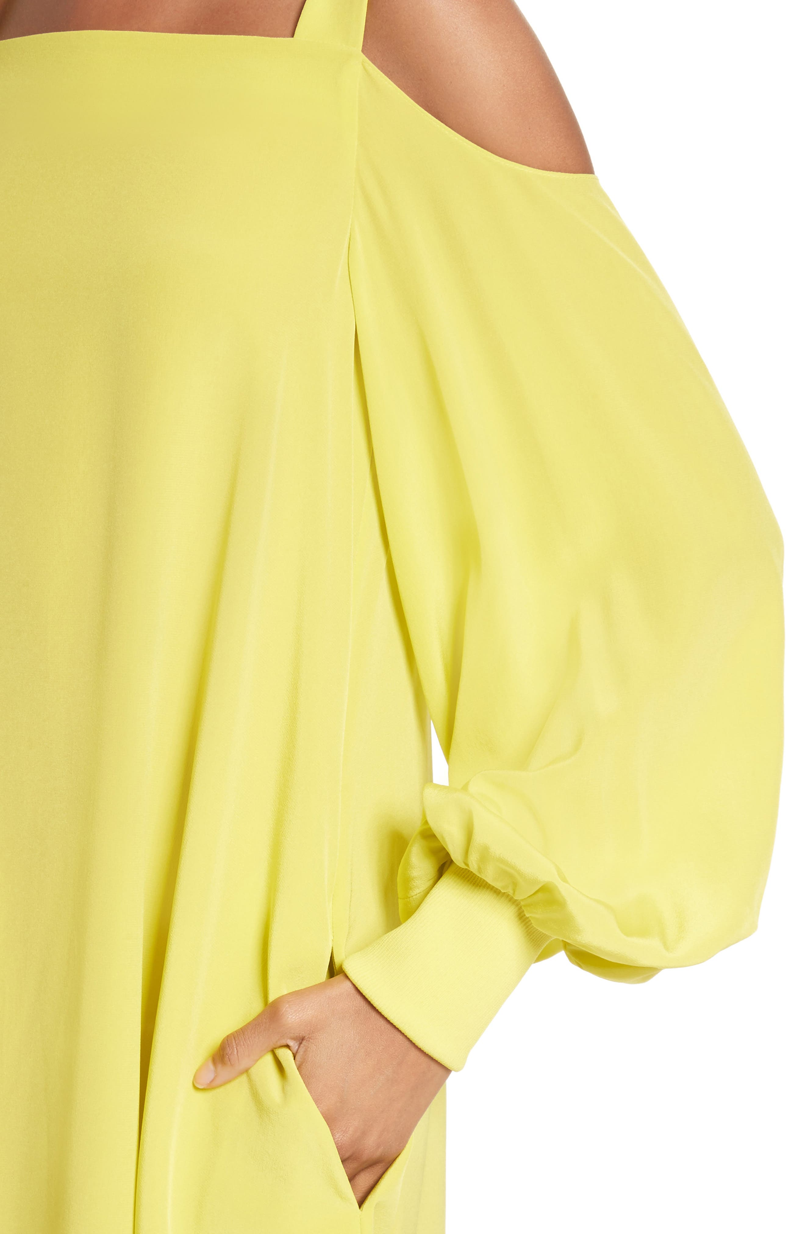Strappy Back Silk Dress,                             Alternate thumbnail 4, color,                             Vibrant Yellow