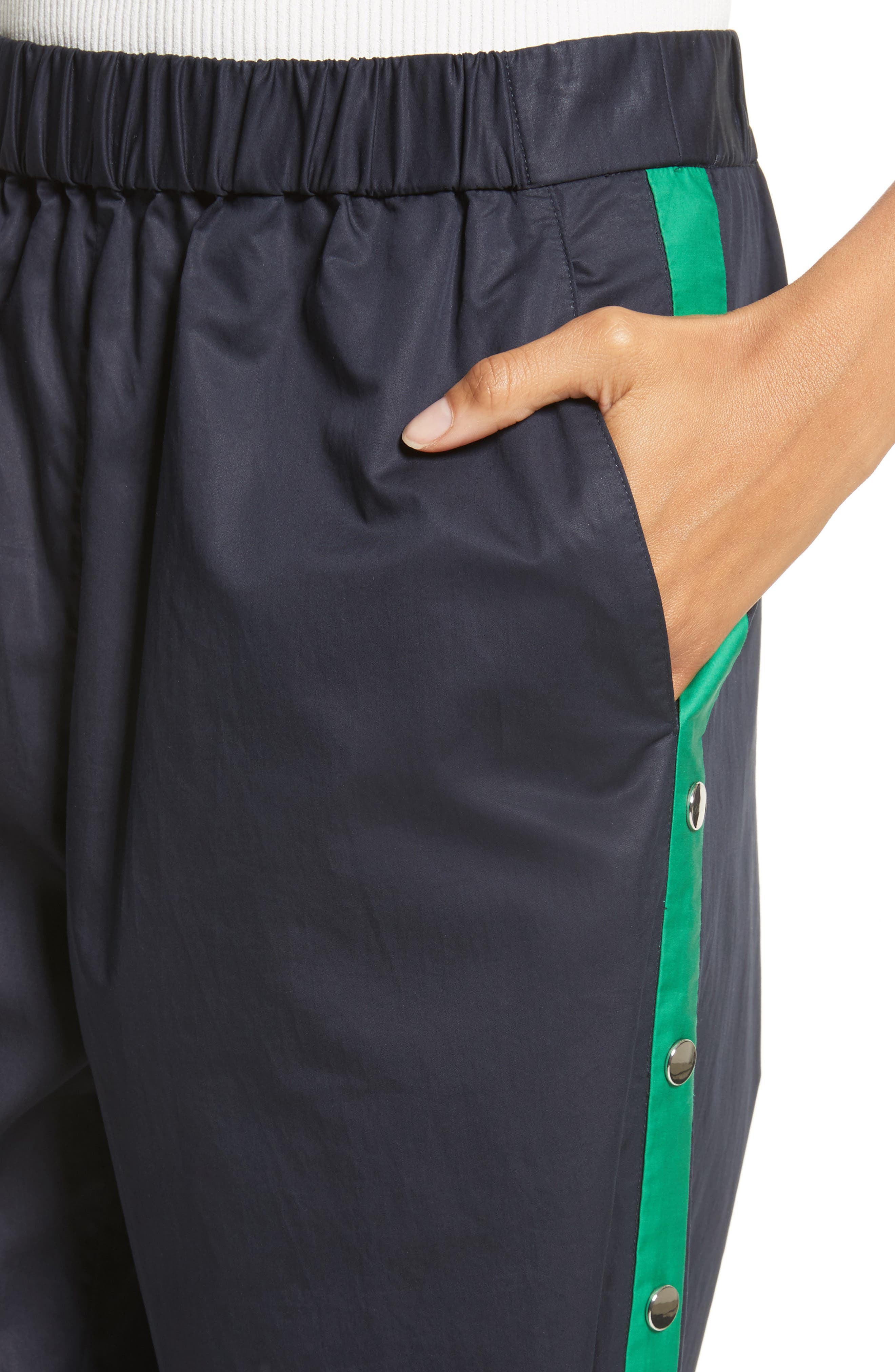 Snap Side Track Pants,                             Alternate thumbnail 4, color,                             Navy/ Green Multi