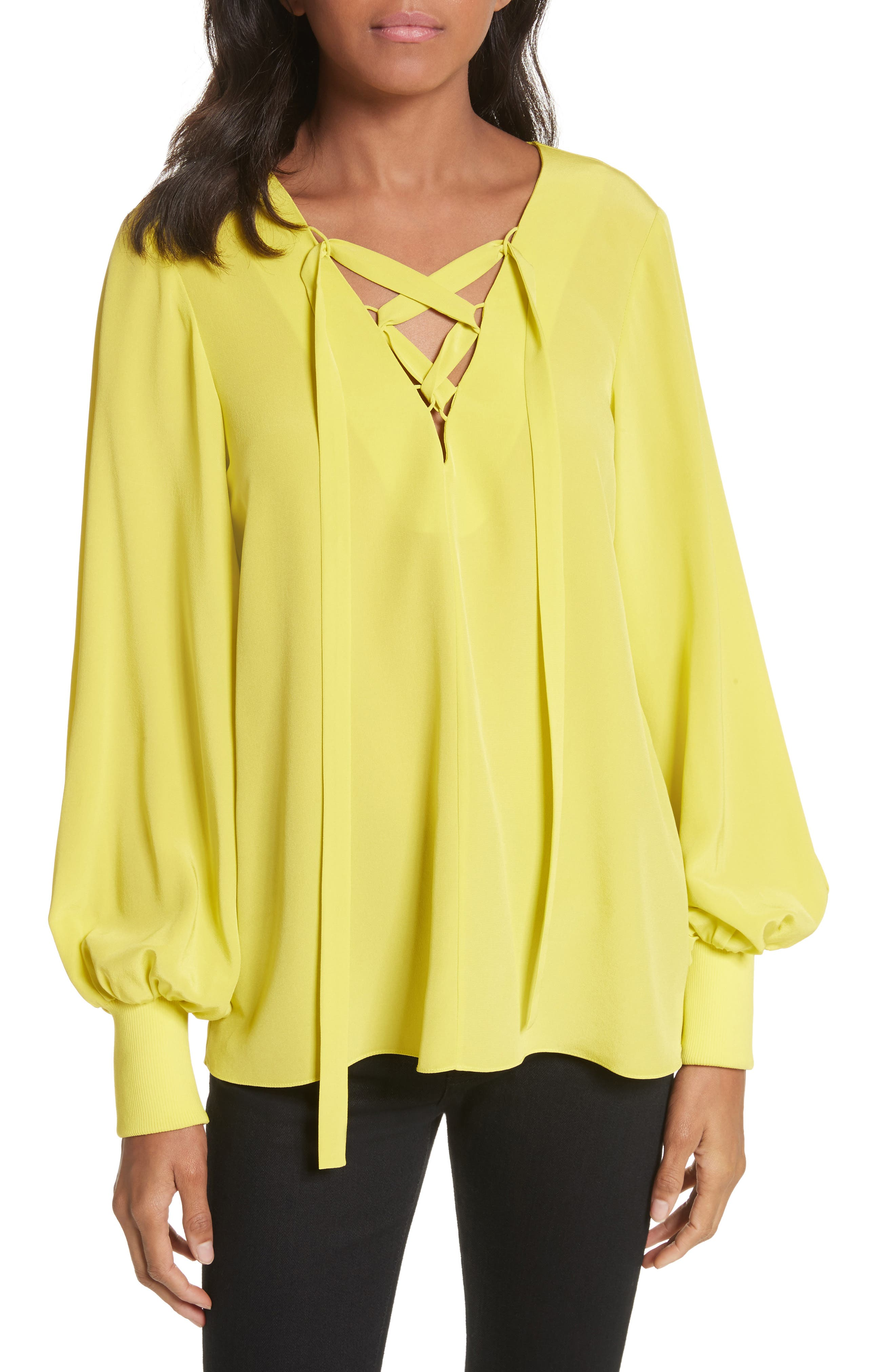 Lace-Up Silk Tunic,                             Main thumbnail 1, color,                             Yellow