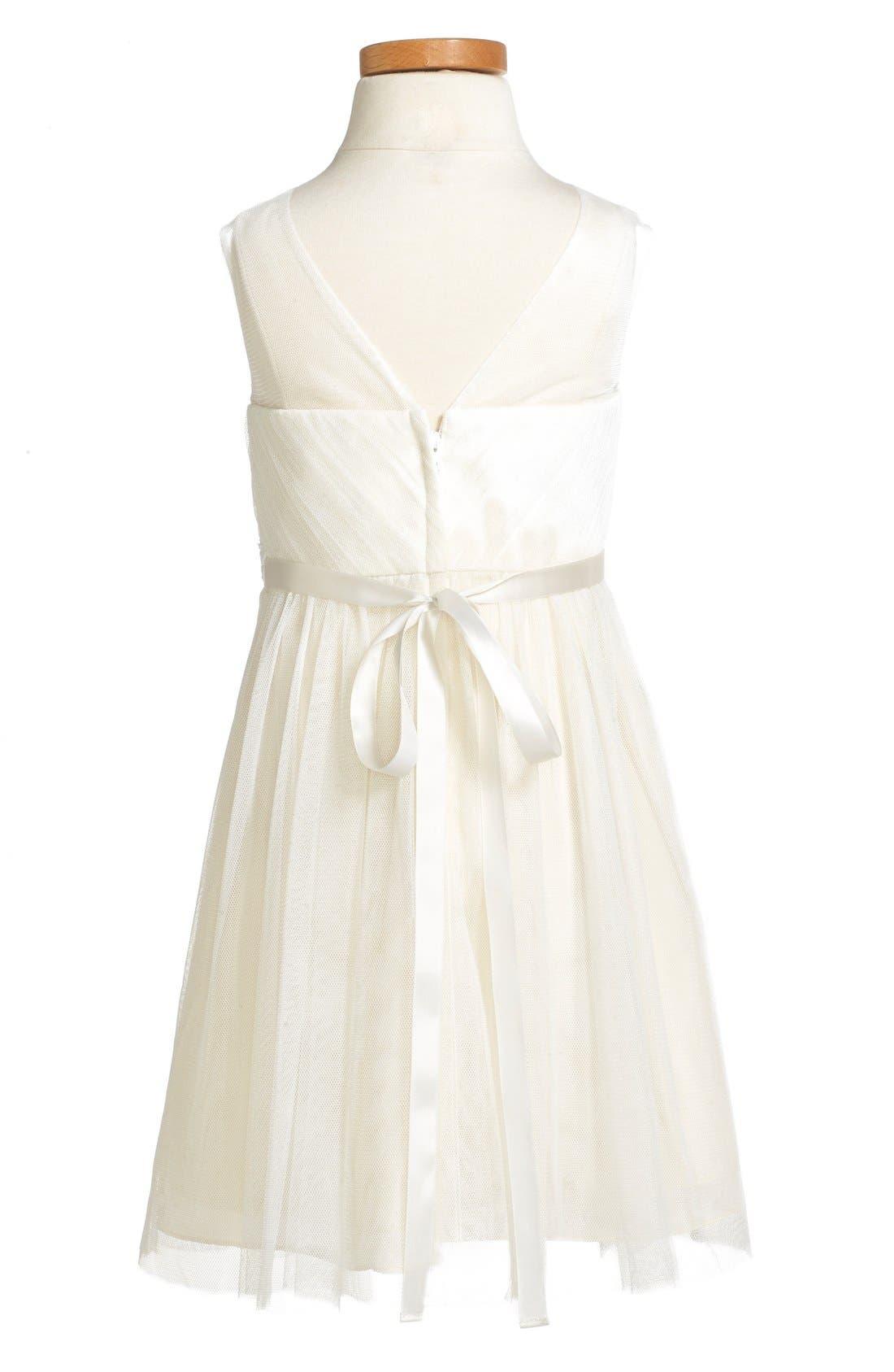 Zoe Floral Appliqué Tulle Dress,                             Alternate thumbnail 4, color,                             Cream