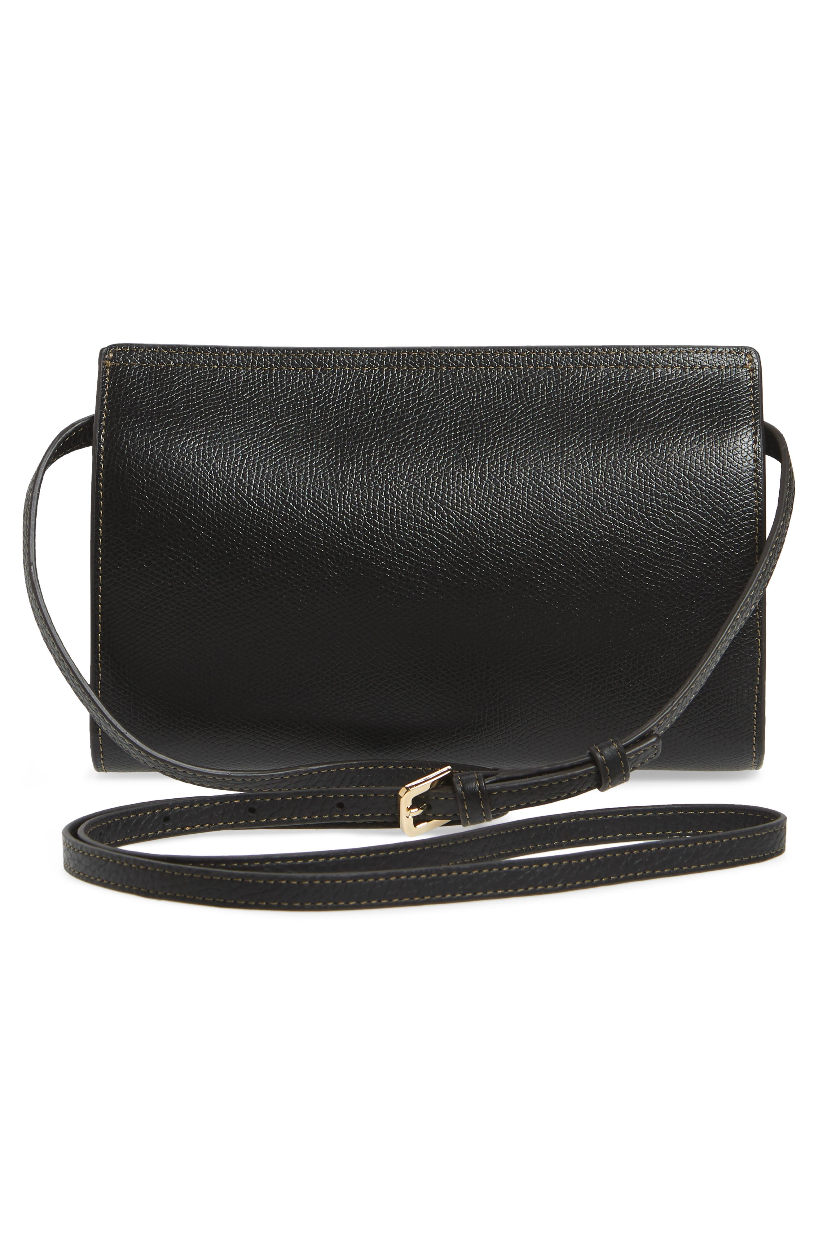 Mini Like Leather Crossbody Bag,                             Alternate thumbnail 3, color,                             Onyx