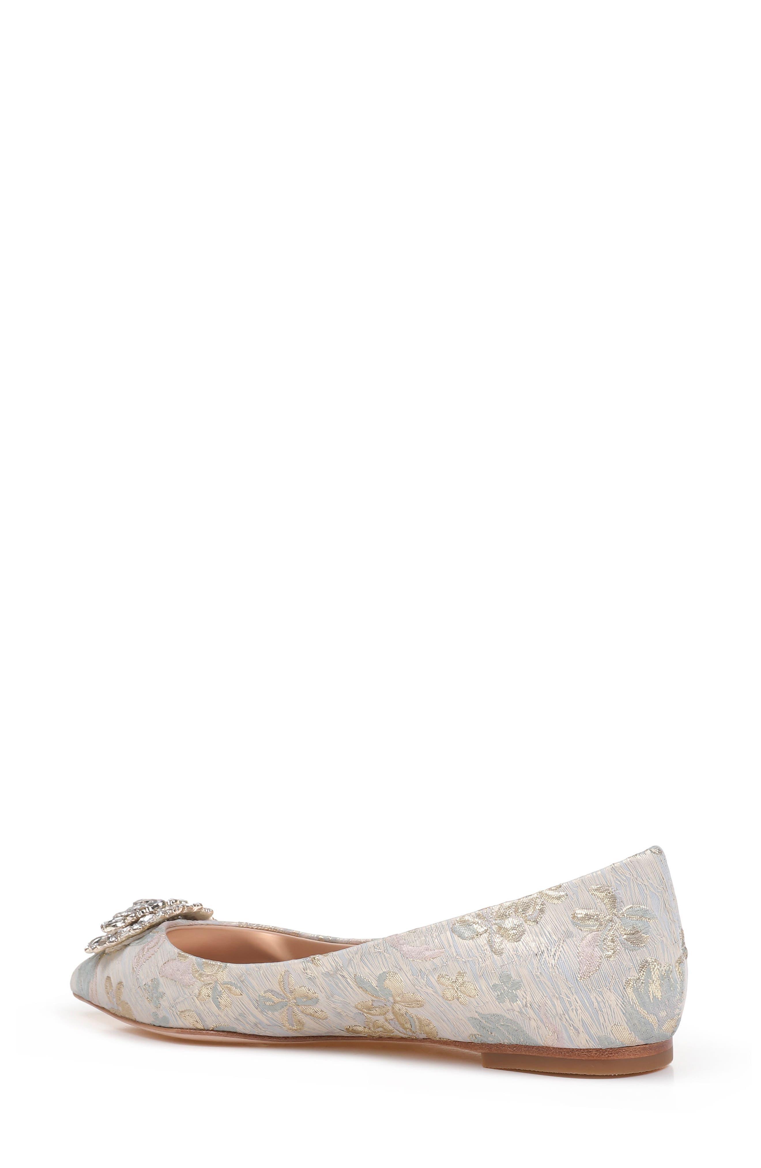 'Davis' Crystal Embellished Pointy Toe Flat,                             Alternate thumbnail 2, color,                             Platino Brocade Fabric