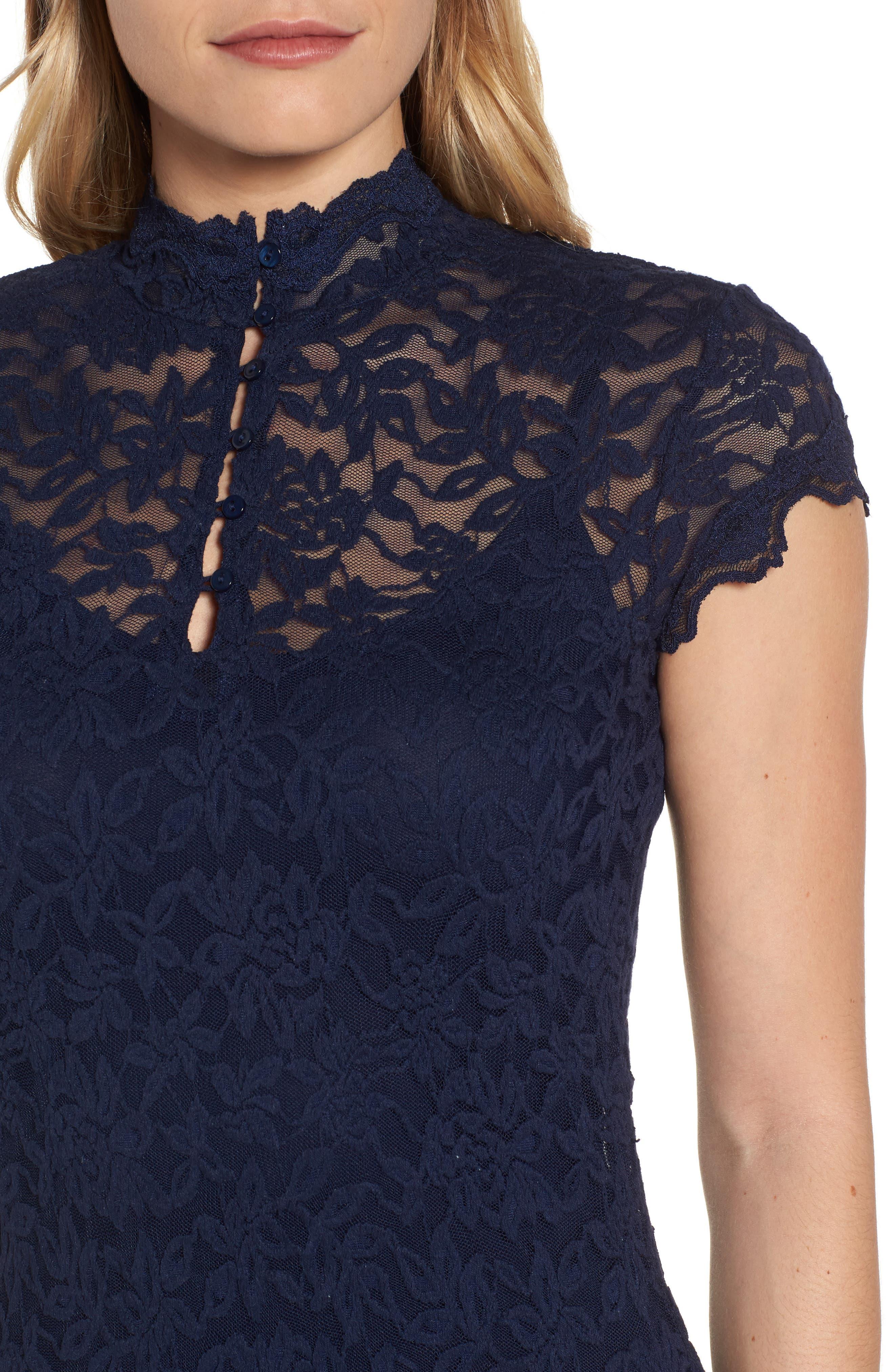 Delicia Lace Body-Con Dress,                             Alternate thumbnail 4, color,                             Dark Blue