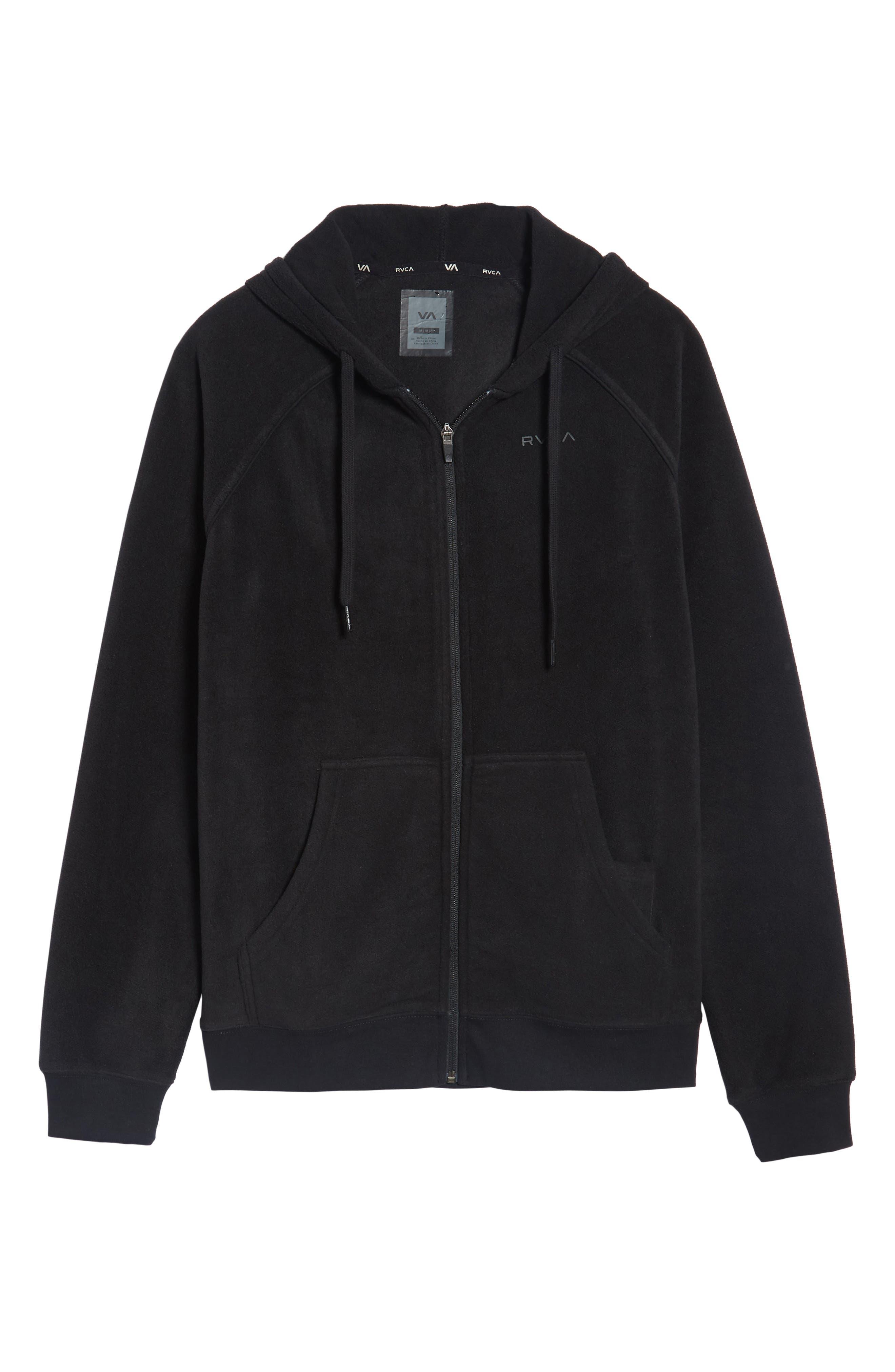 Slider Zip Through Fleece Hoodie,                             Alternate thumbnail 6, color,                             Black