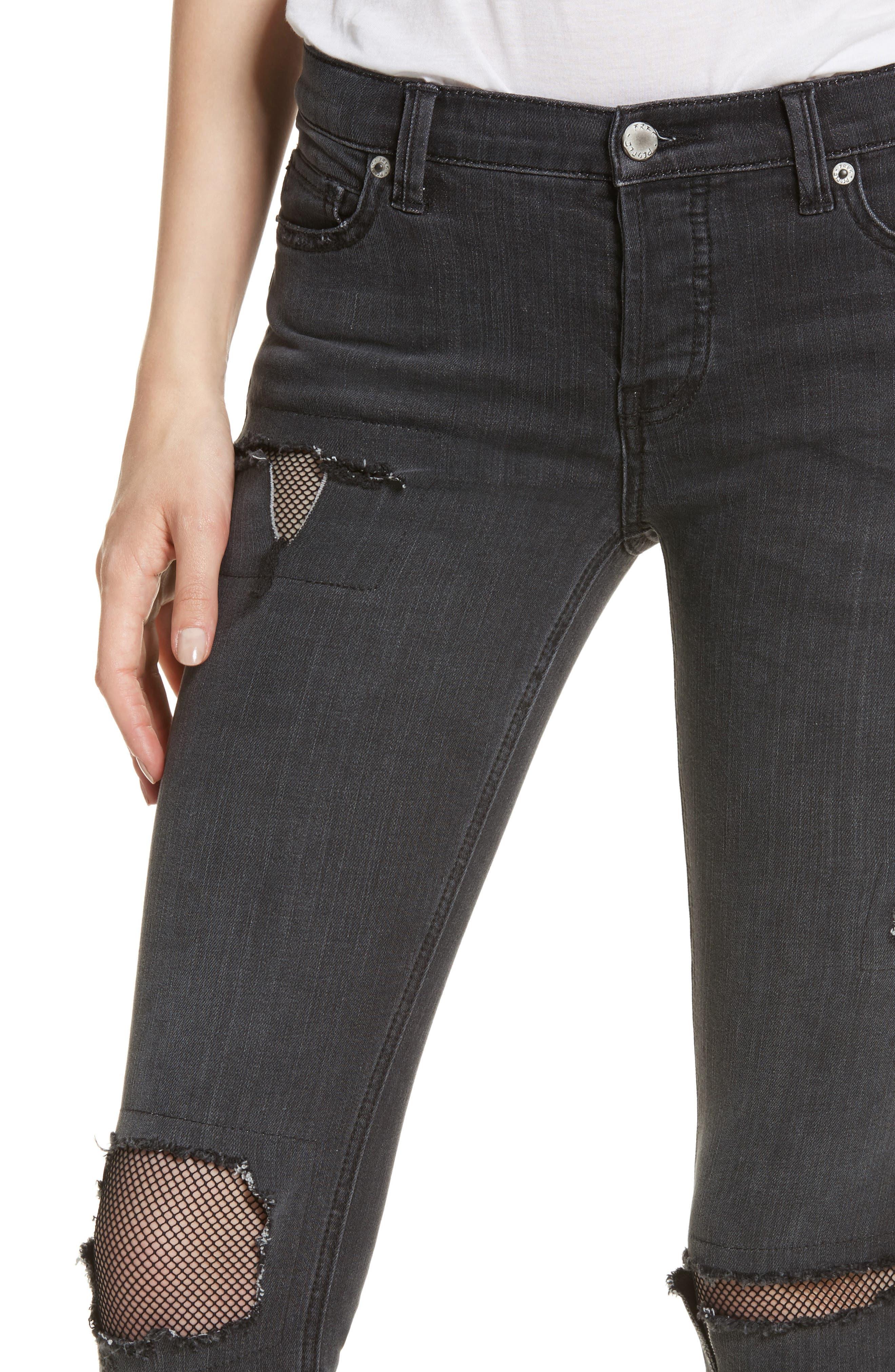 Fishnet Crop Skinny Jeans,                             Alternate thumbnail 4, color,                             Black