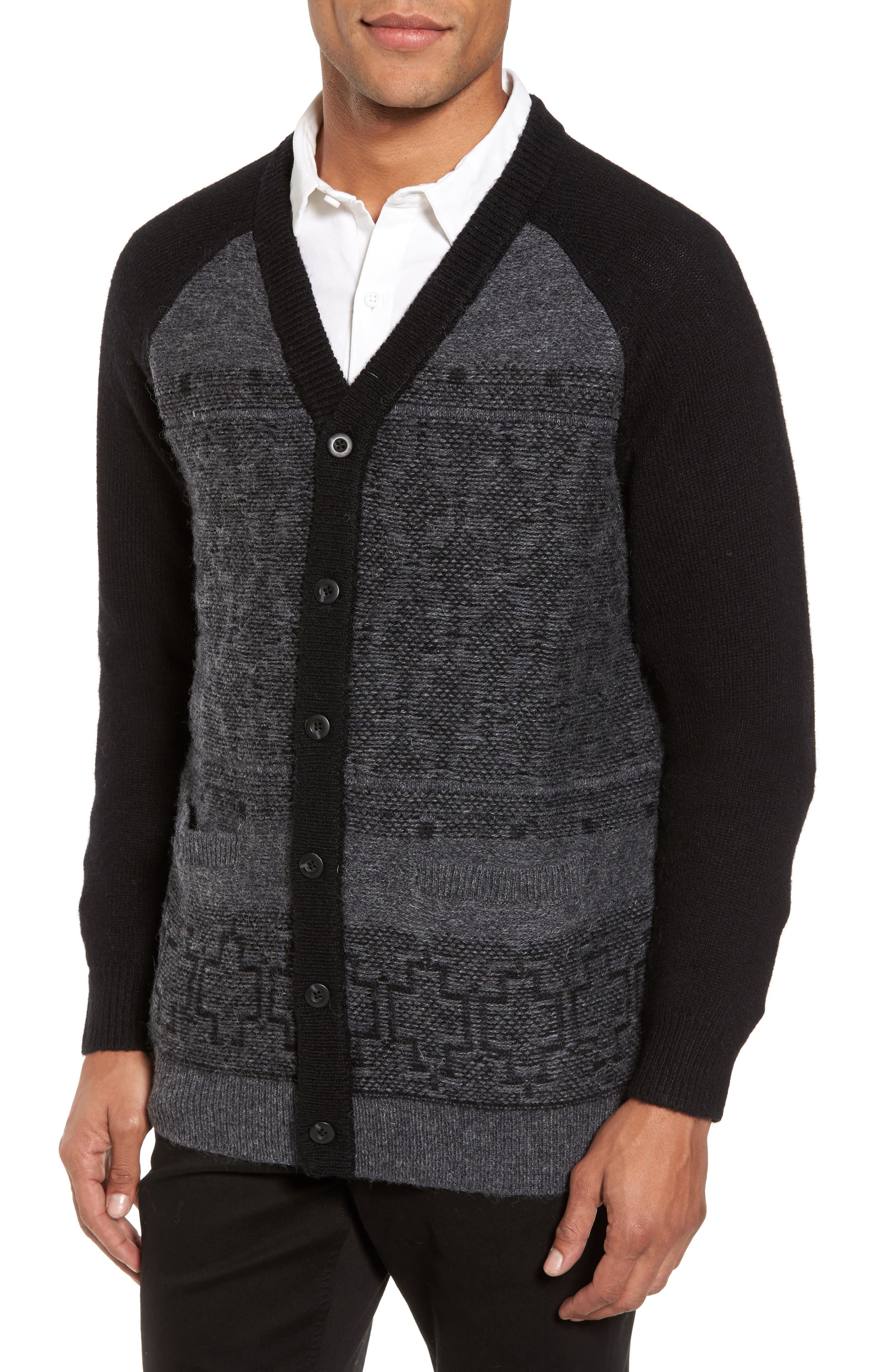 Waverly Cardigan,                             Main thumbnail 1, color,                             Grey/ Black