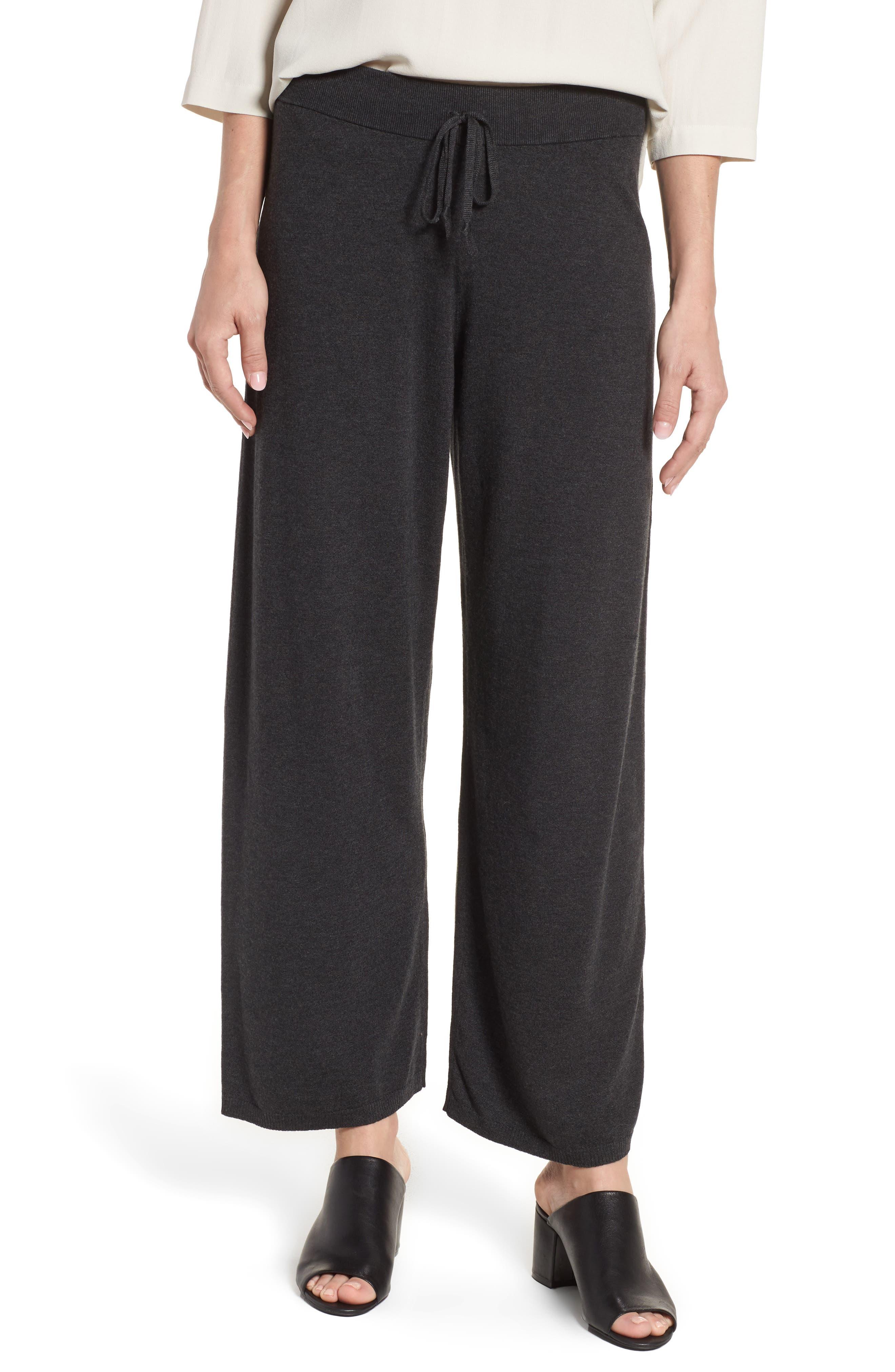 Tencel<sup>®</sup> Lyocell Blend Knit Wide Leg Pants,                         Main,                         color, Charcoal