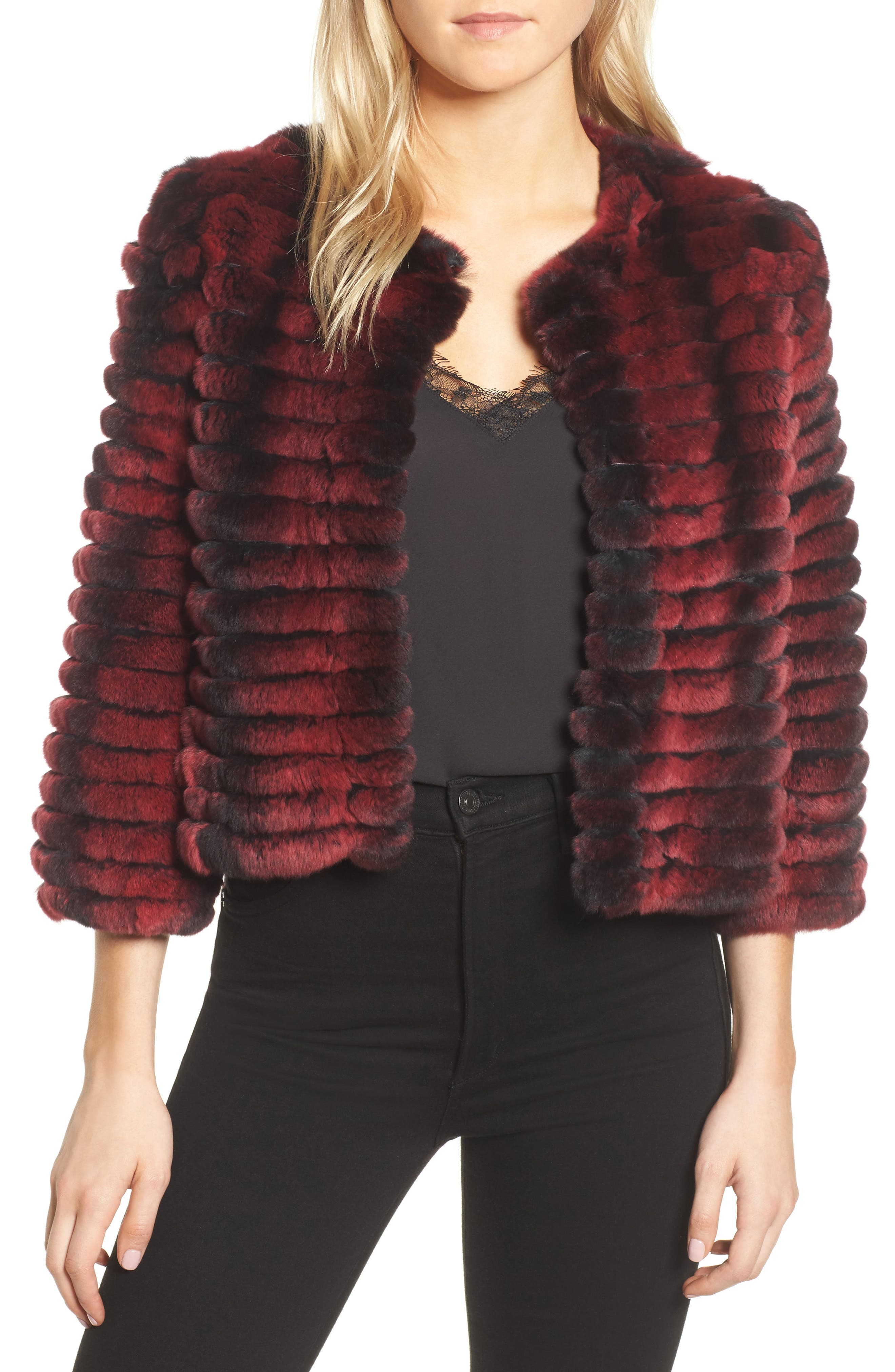 Genuine Rabbit Fur Crop Jacket,                         Main,                         color, Wine Two Tone
