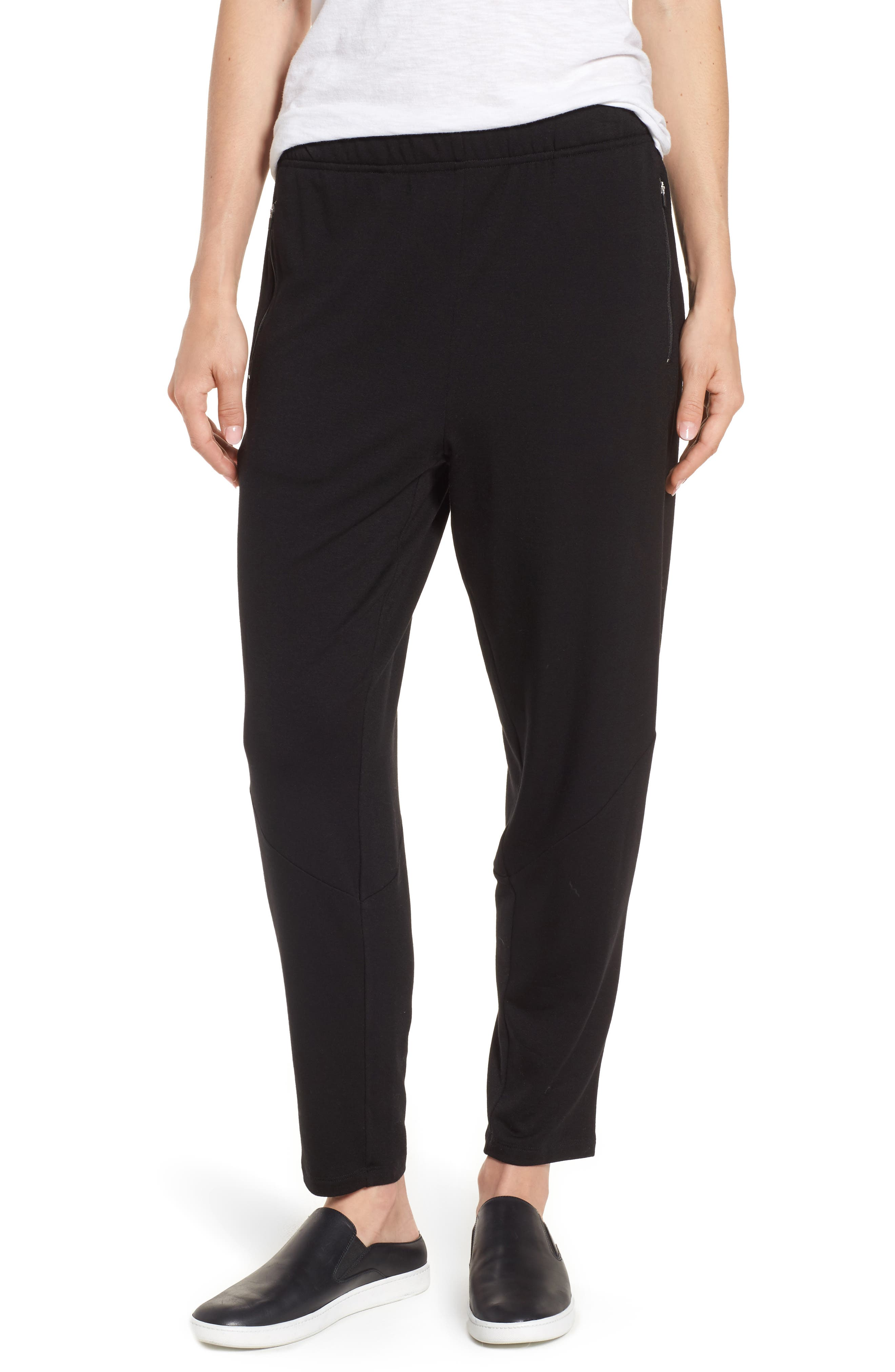 Slouchy Stretch Tencel<sup>®</sup> Lyocell Tapered Pants,                         Main,                         color, Black
