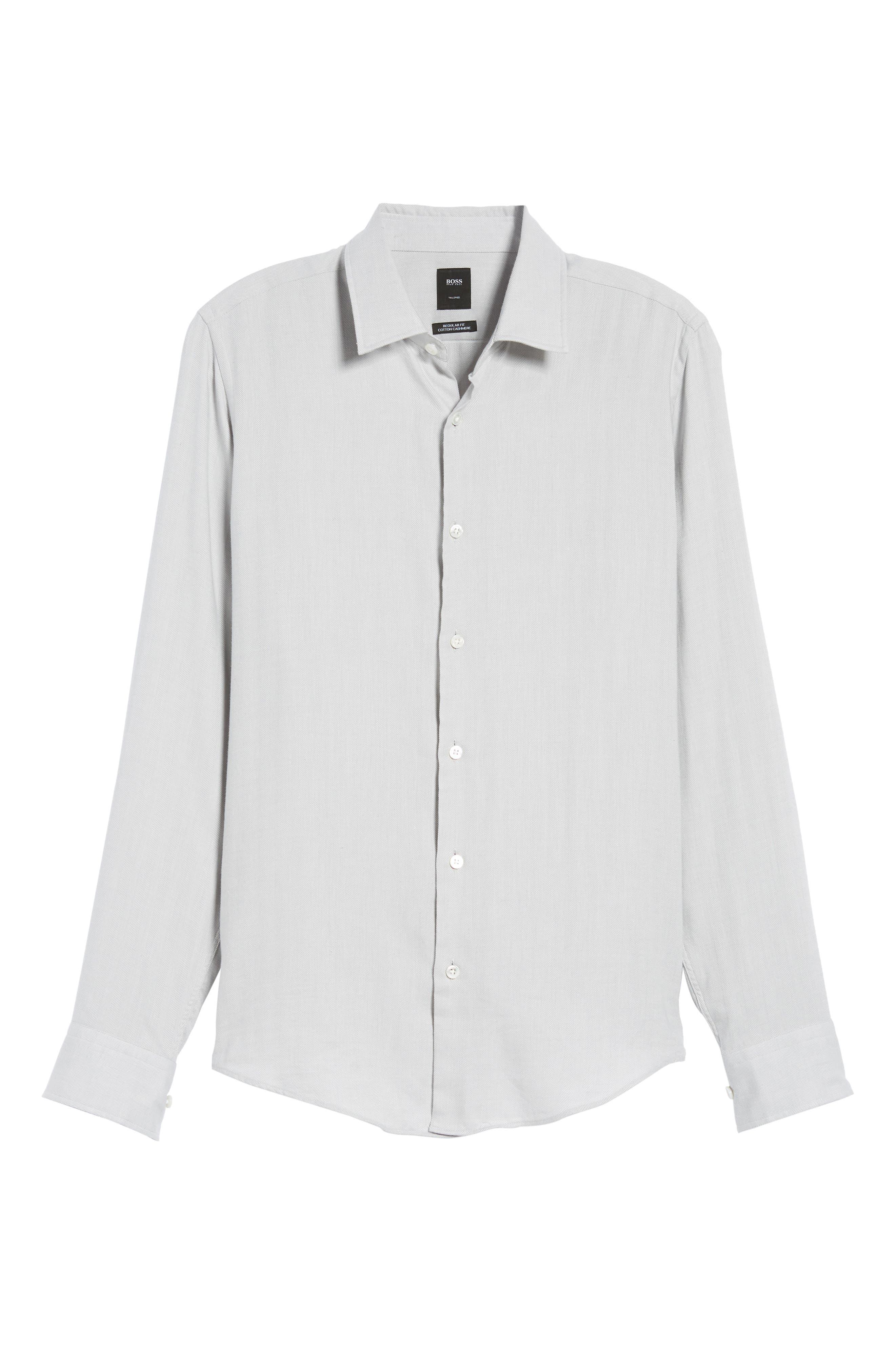 Landon Herringbone Shirt,                             Alternate thumbnail 6, color,                             Grey