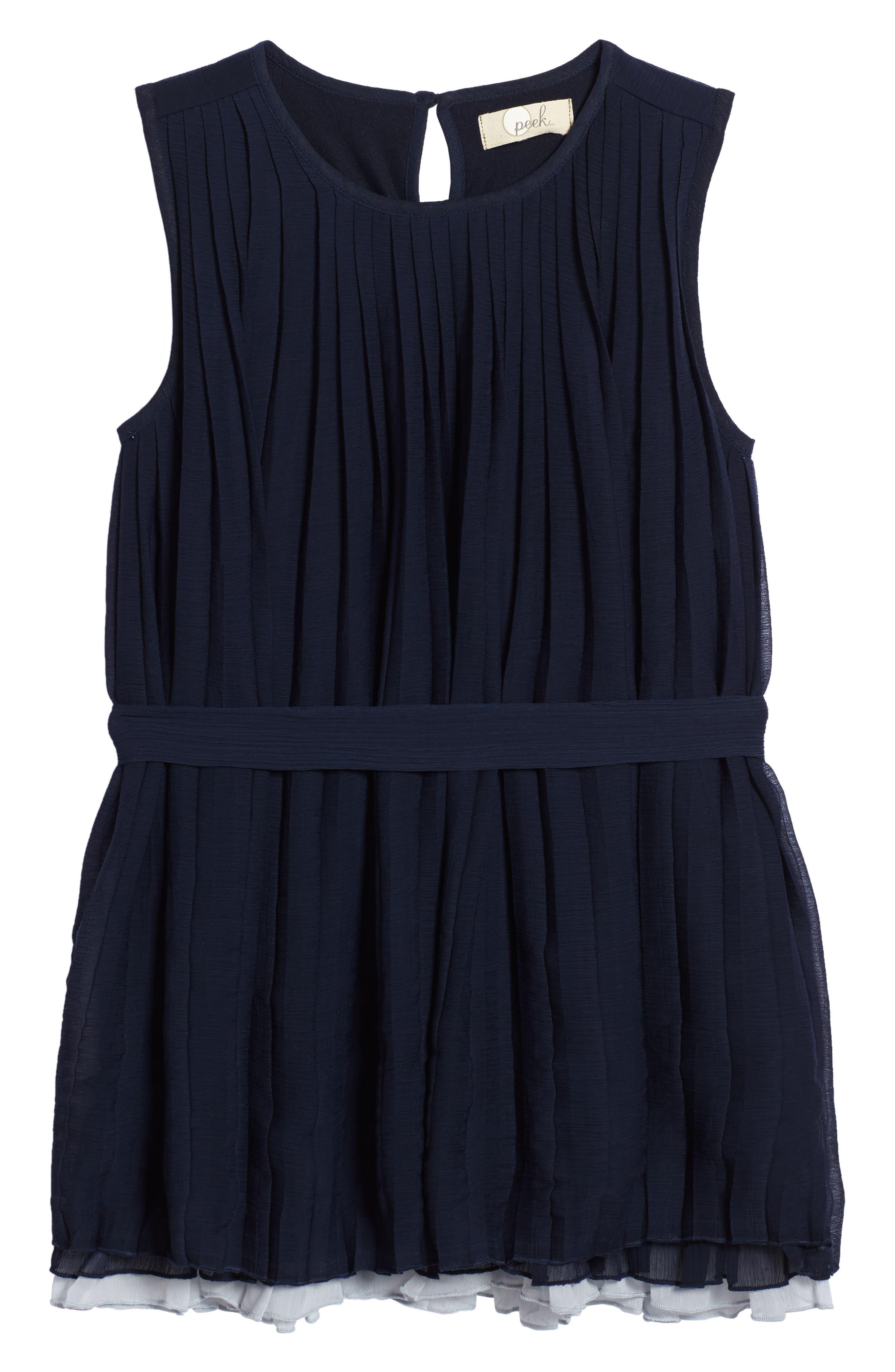 Stefanie Pleated Dress,                         Main,                         color, Navy