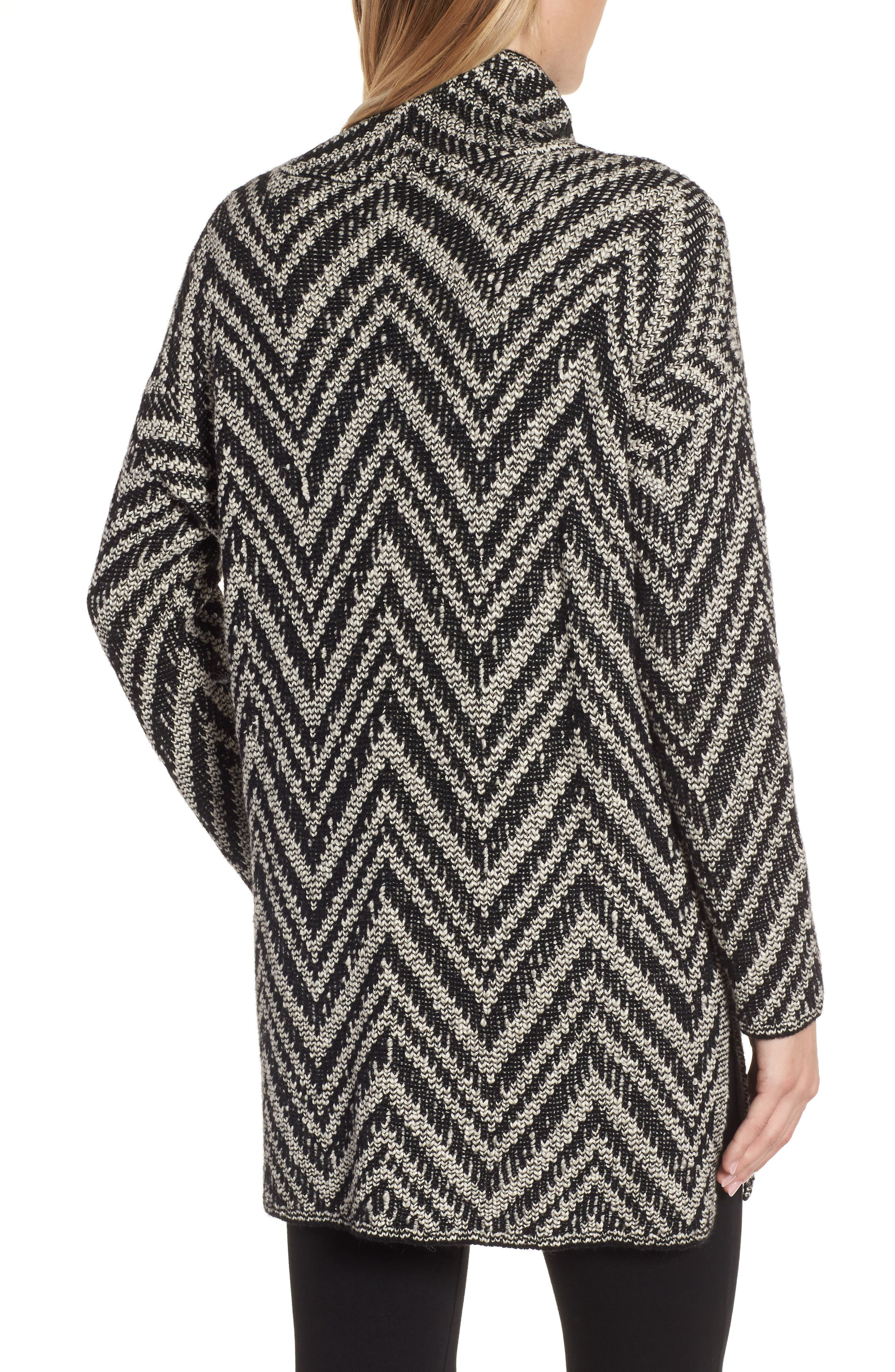 Zigzag Organic Cotton & Alpaca Tunic Sweater,                             Alternate thumbnail 2, color,                             Black/ Soft White
