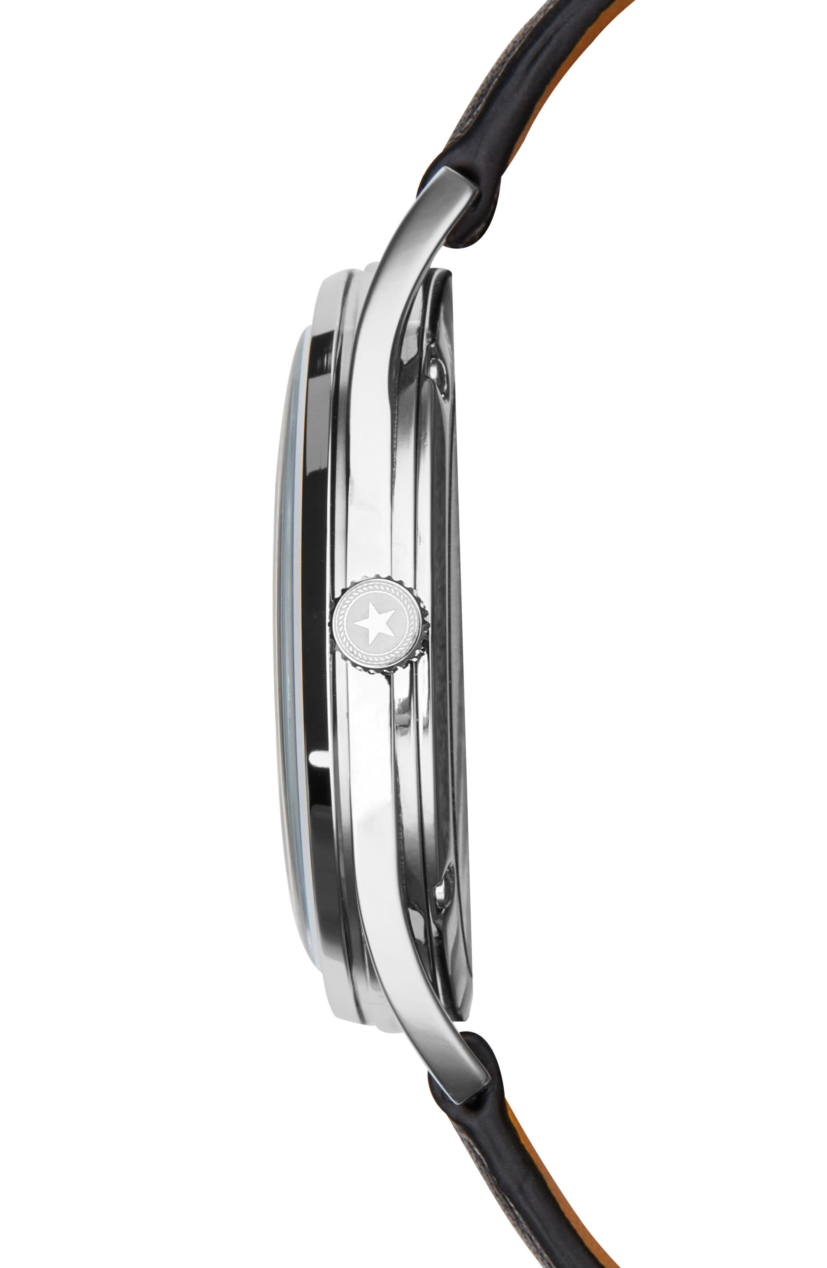 Deck Leather Strap Watch, 36mm,                             Alternate thumbnail 2, color,                             Black/ Blue/ Silver